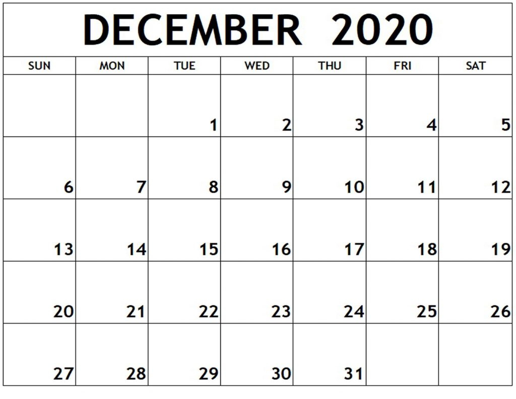 Free Blank December 2020 Calendar Printable In Pdf, Word with regard to Calander For December 2020