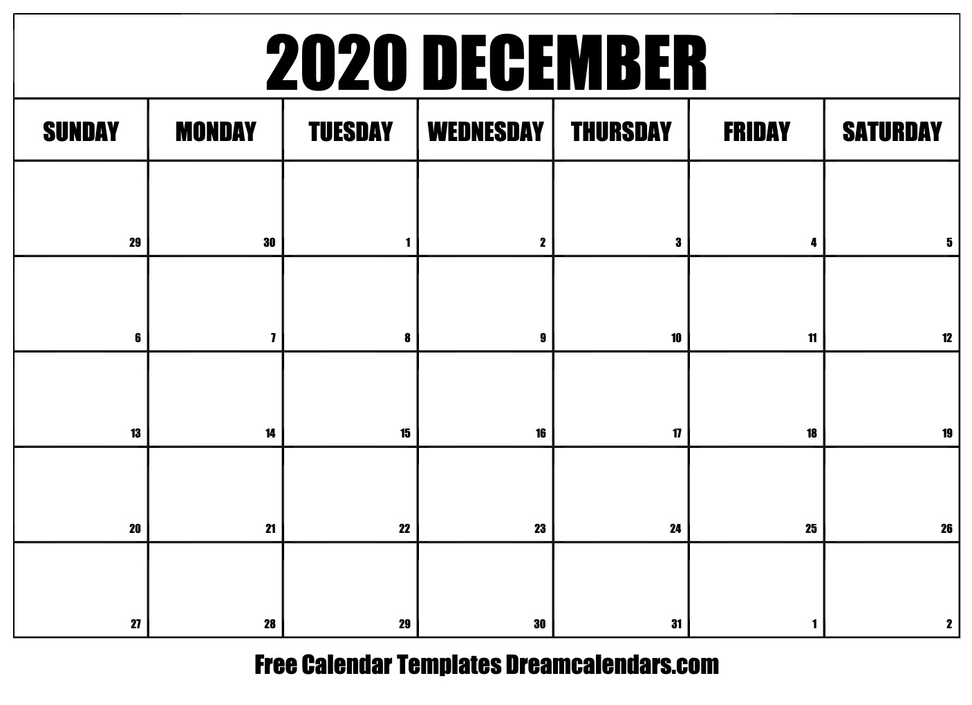 Free Blank December 2020 Printable Calendar regarding Calendar 2020 December