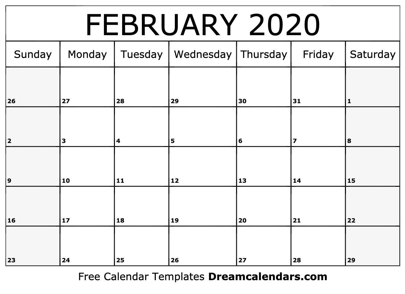Free Blank February 2020 Printable Calendar intended for August 2020 And September 2020 Calendar