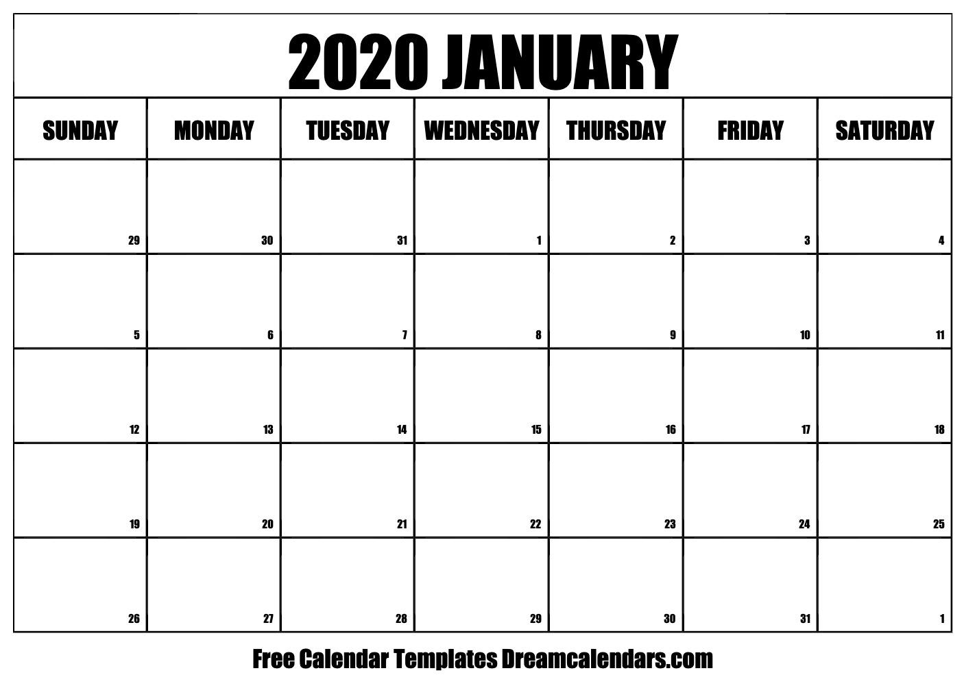 Free Blank January 2020 Printable Calendar pertaining to Broadcast Calendar 2021
