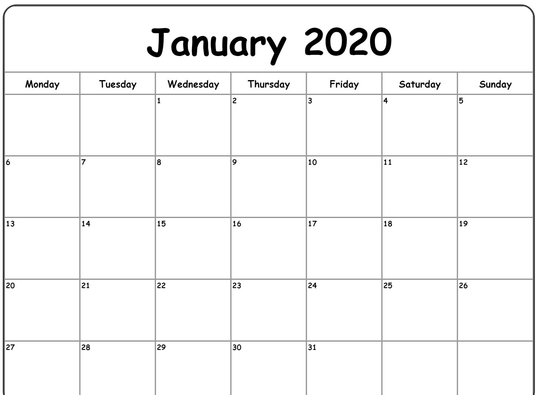Free Blank January Calendar 2020 Printable Template regarding January 2020 Printable Calendar