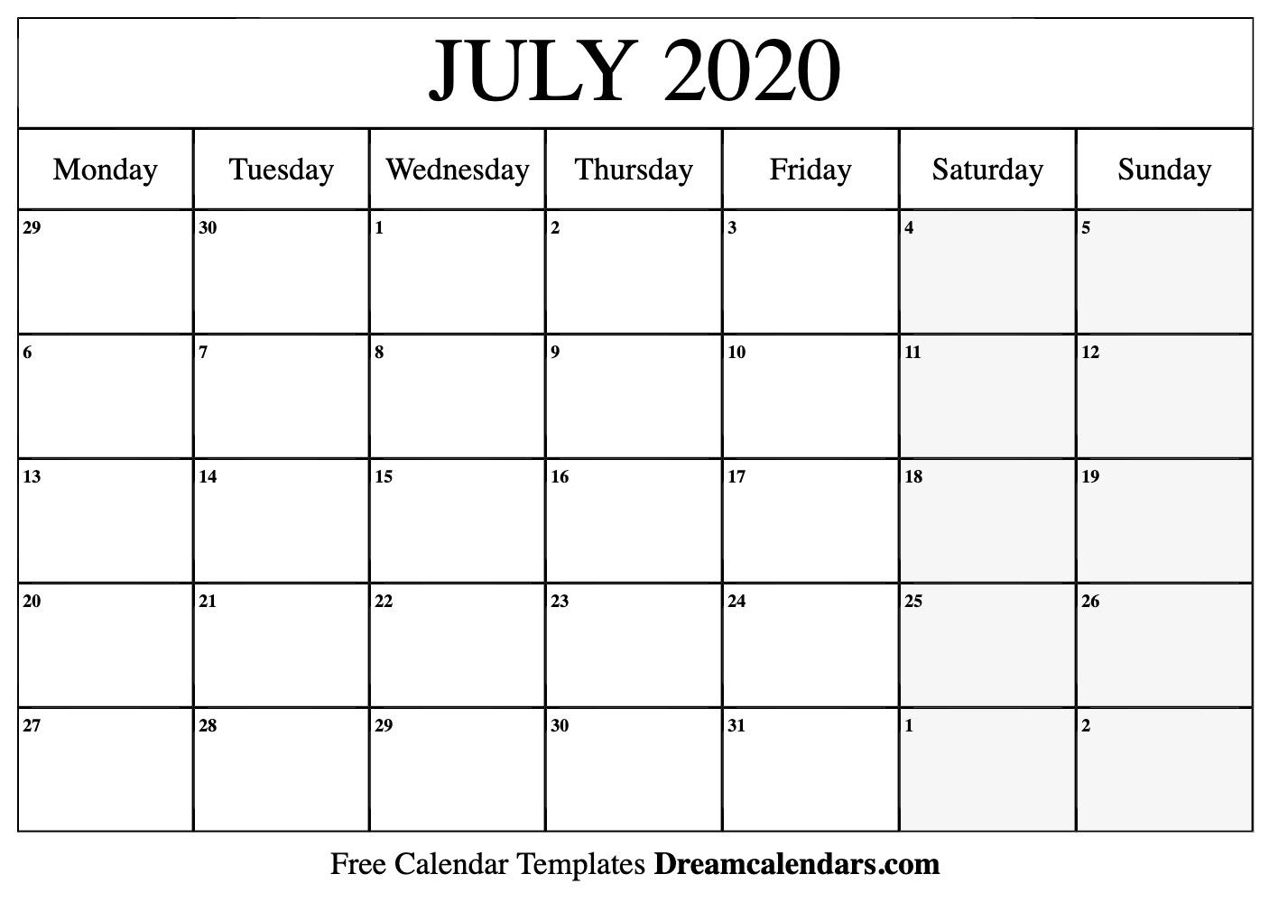 Free Blank July 2020 Printable Calendar throughout Kalendar Kuda July 2020