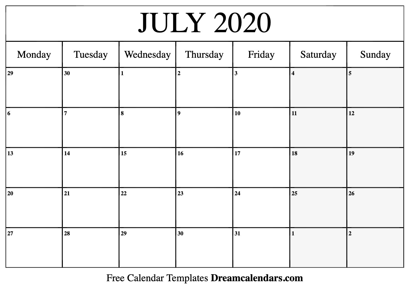 Free Blank July 2020 Printable Calendar throughout Kalendar Kuda September 2020