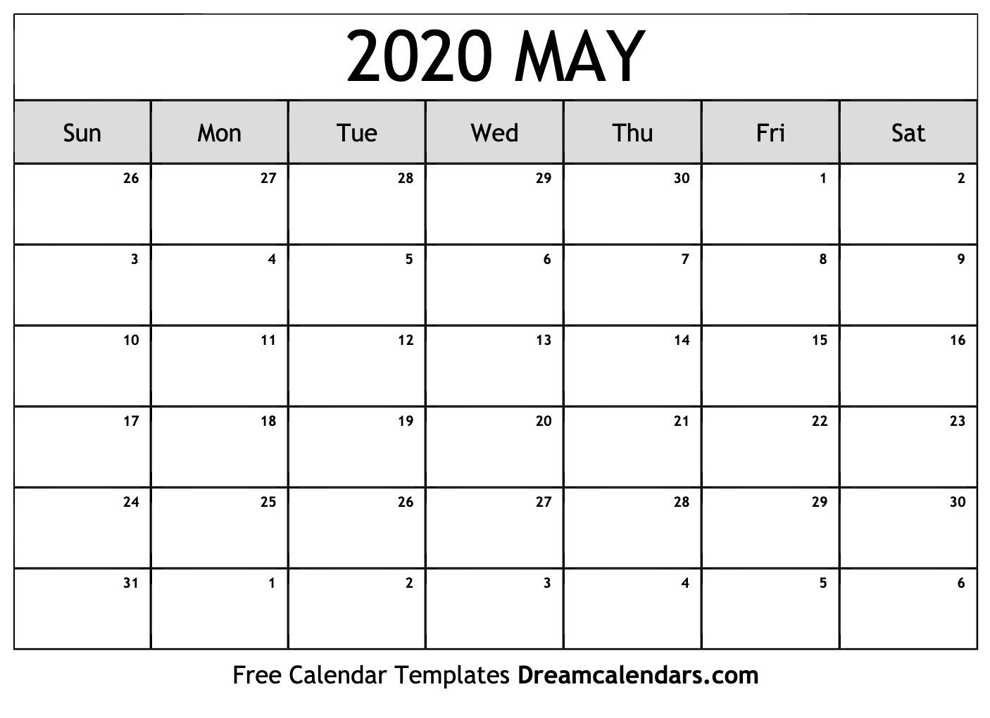 Free Blank May 2020 Printable Calendar throughout Kalendar Kuda May 2020