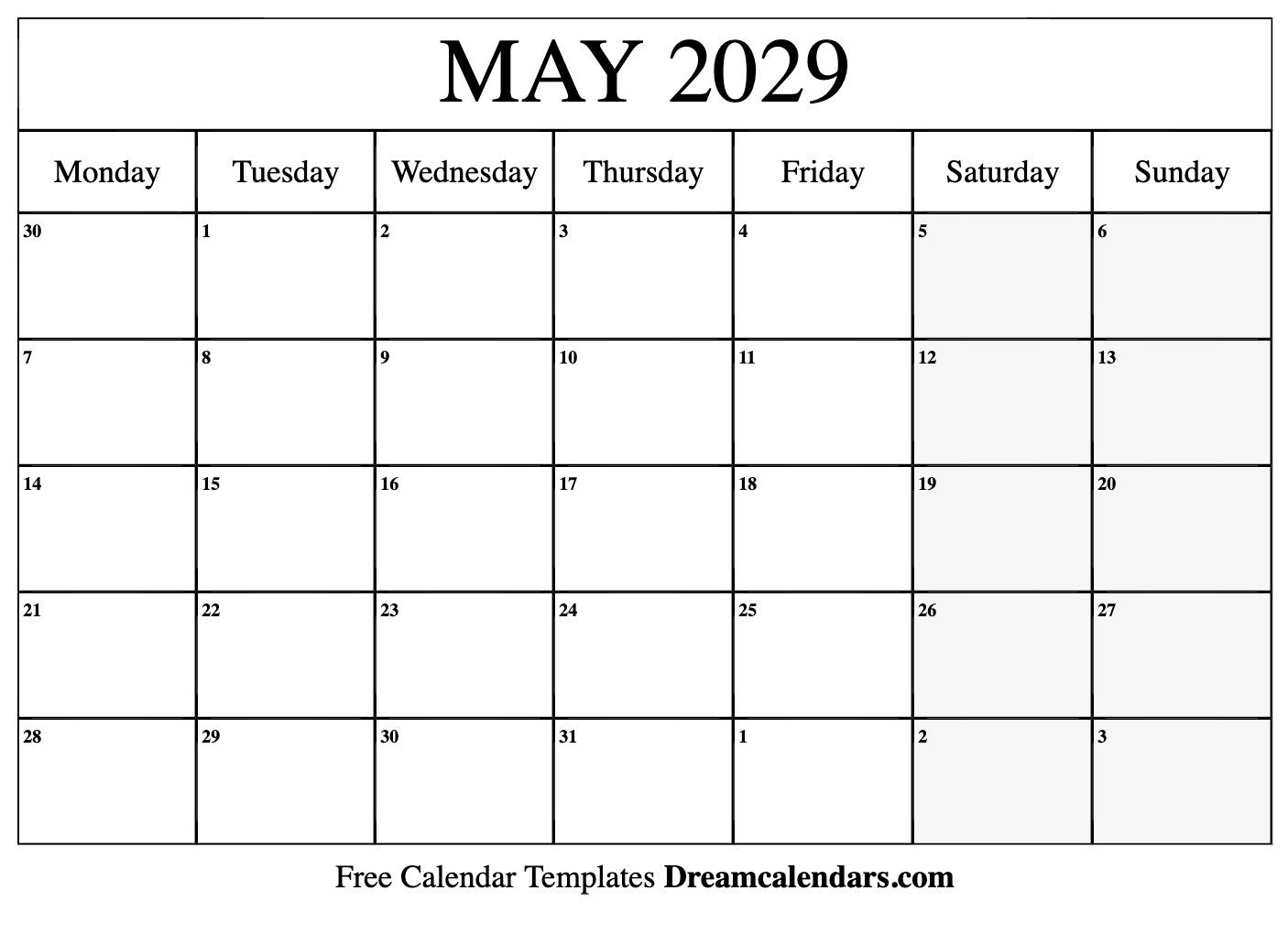 Free Blank May 2029 Printable Calendar inside Blank Sunday Through Saturday Calendar