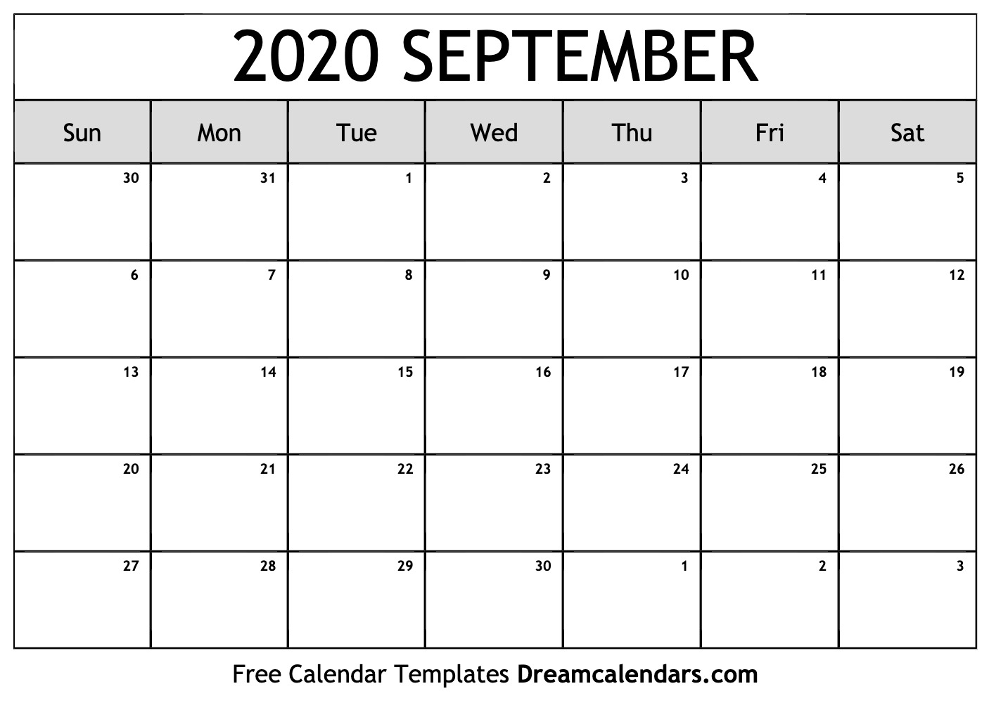 Free Blank September 2020 Printable Calendar throughout Kalendar Kuda September 2020