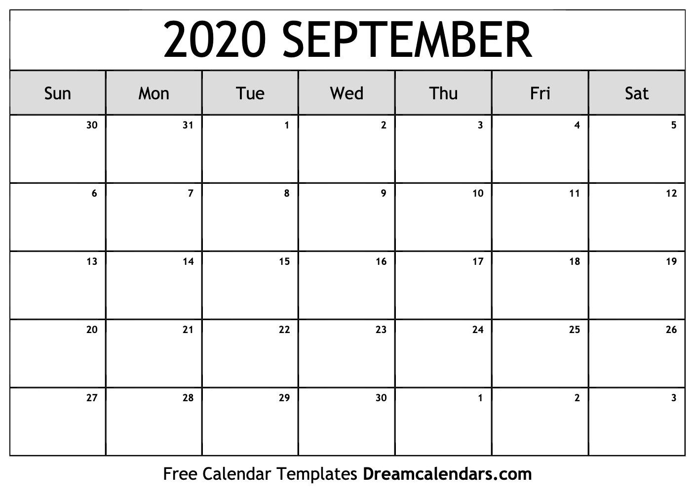 Free Blank September 2020 Printable Calendar throughout Kalendar Kuda September 2020