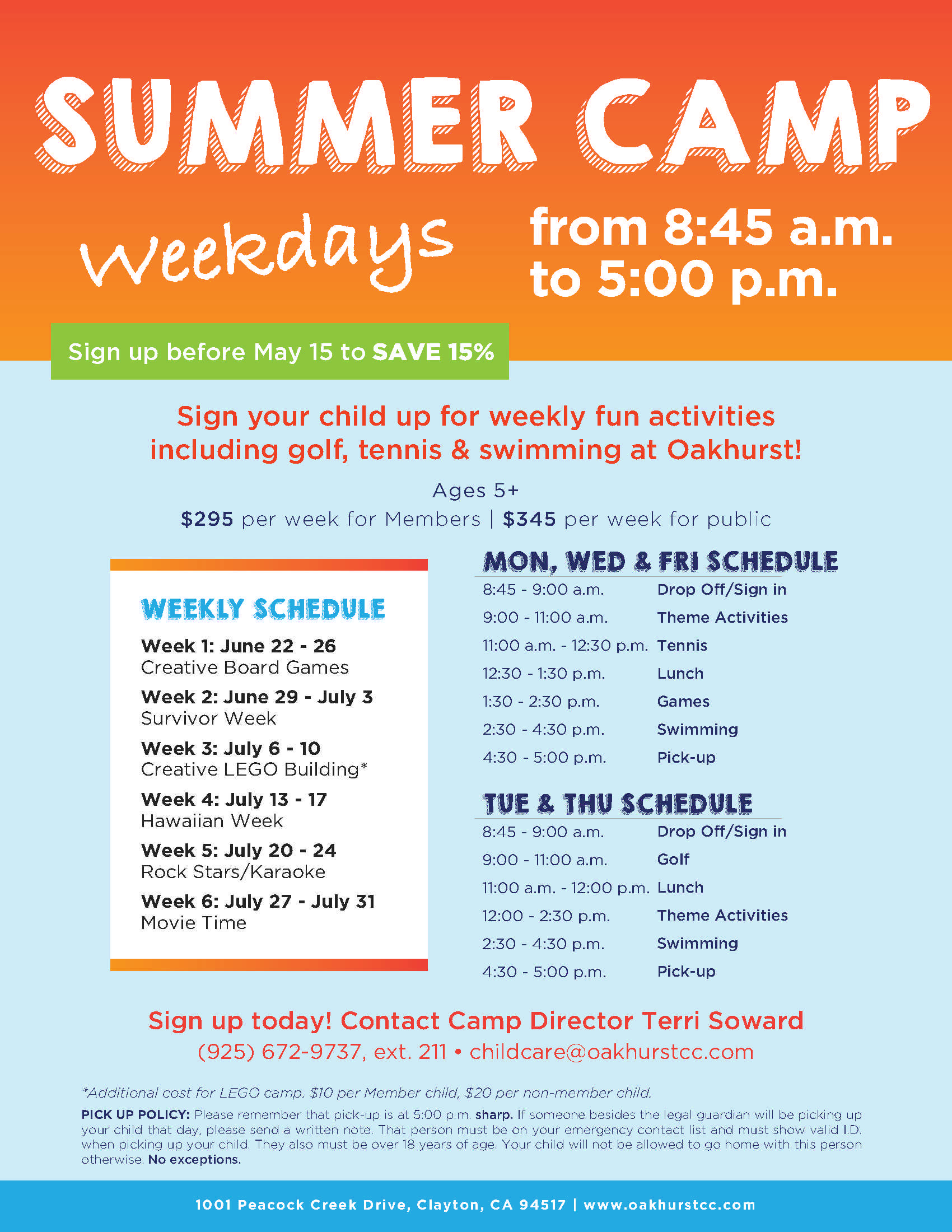 Free Business Plan Template For Summer Camp Plans Oakhurst pertaining to Summer Camp Schedule Template