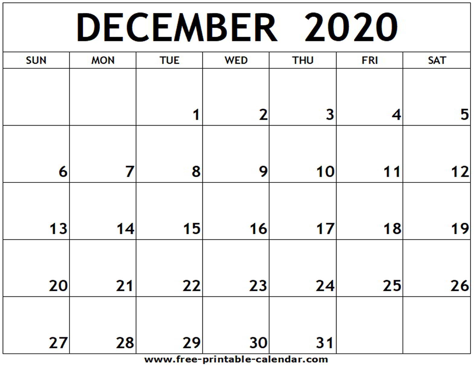 Free Calendar December 2020  Yatay.horizonconsulting.co regarding December 2020 Calendar Beta Calendars