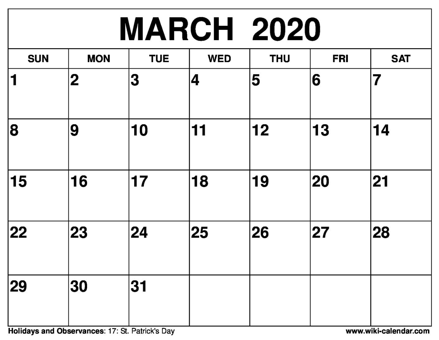 Free Calendar March 2020  Yatay.horizonconsulting.co regarding Calendars Michel Zbinden 2020