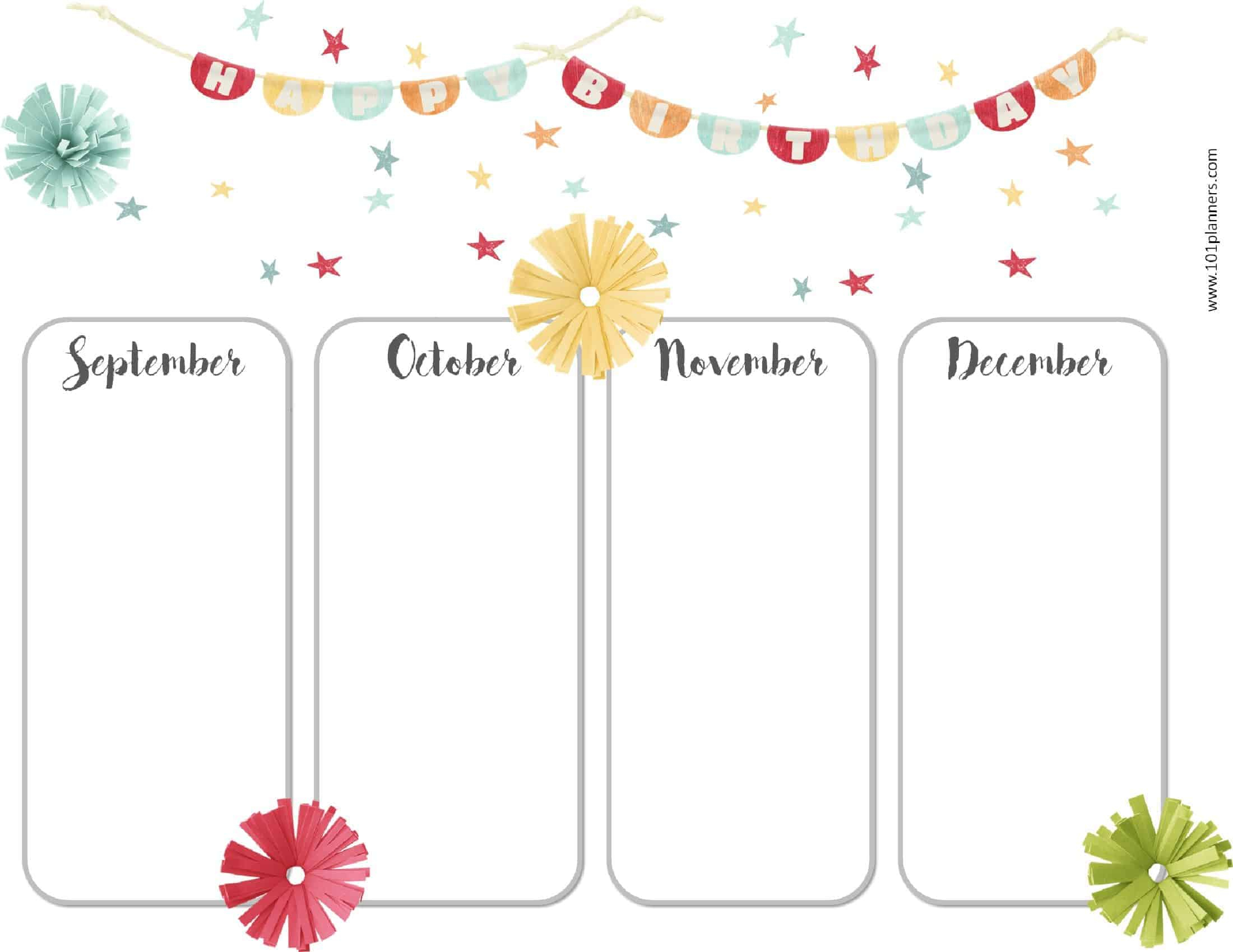 Free Calendar Template For Kindergarten | Free Resume with regard to Classroom Birthday Calendar Template