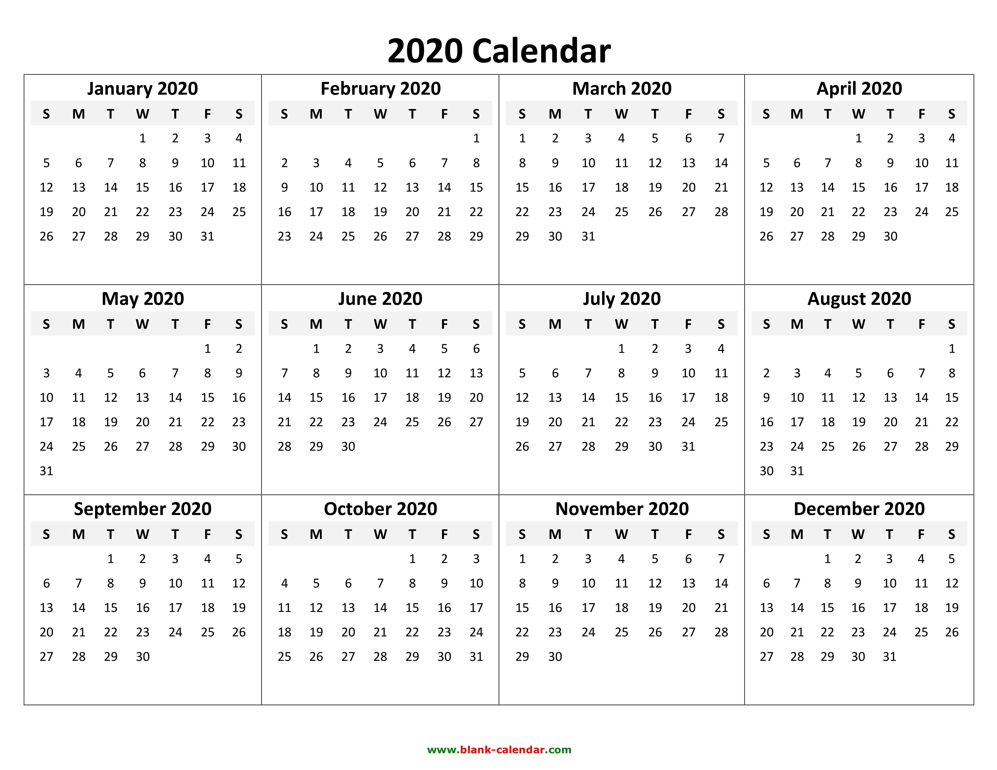 Free Calendars To Print For 2020  Bolan.horizonconsulting.co throughout 2020 Calendar Hk Excel