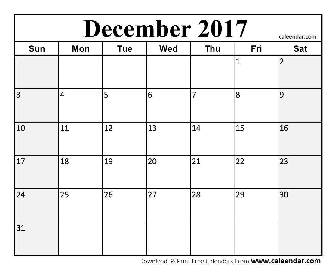 Free December 2017 Calendar | December 2017 Calendar in December 2017 Calendar Printable
