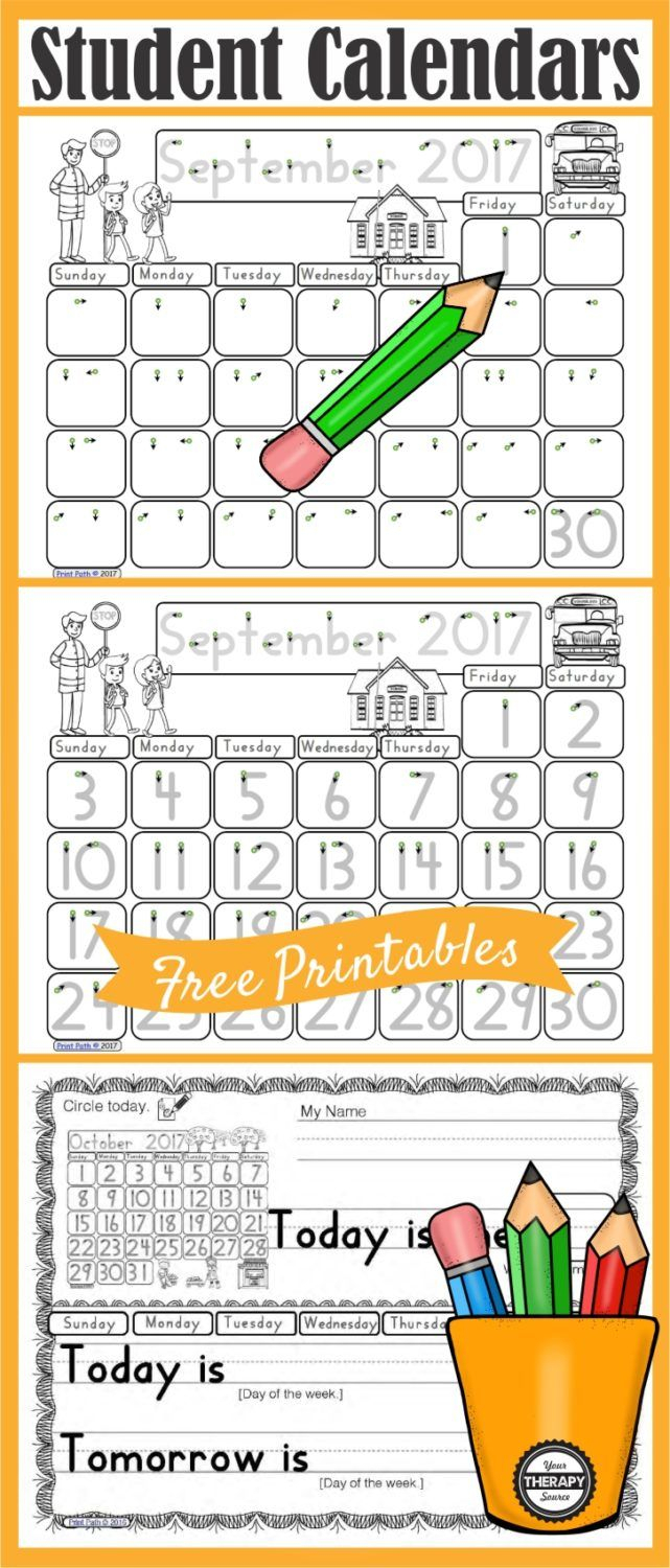 Free Differentiated Morning Meeting Calendar Time Printables with Your Therapy Source Free