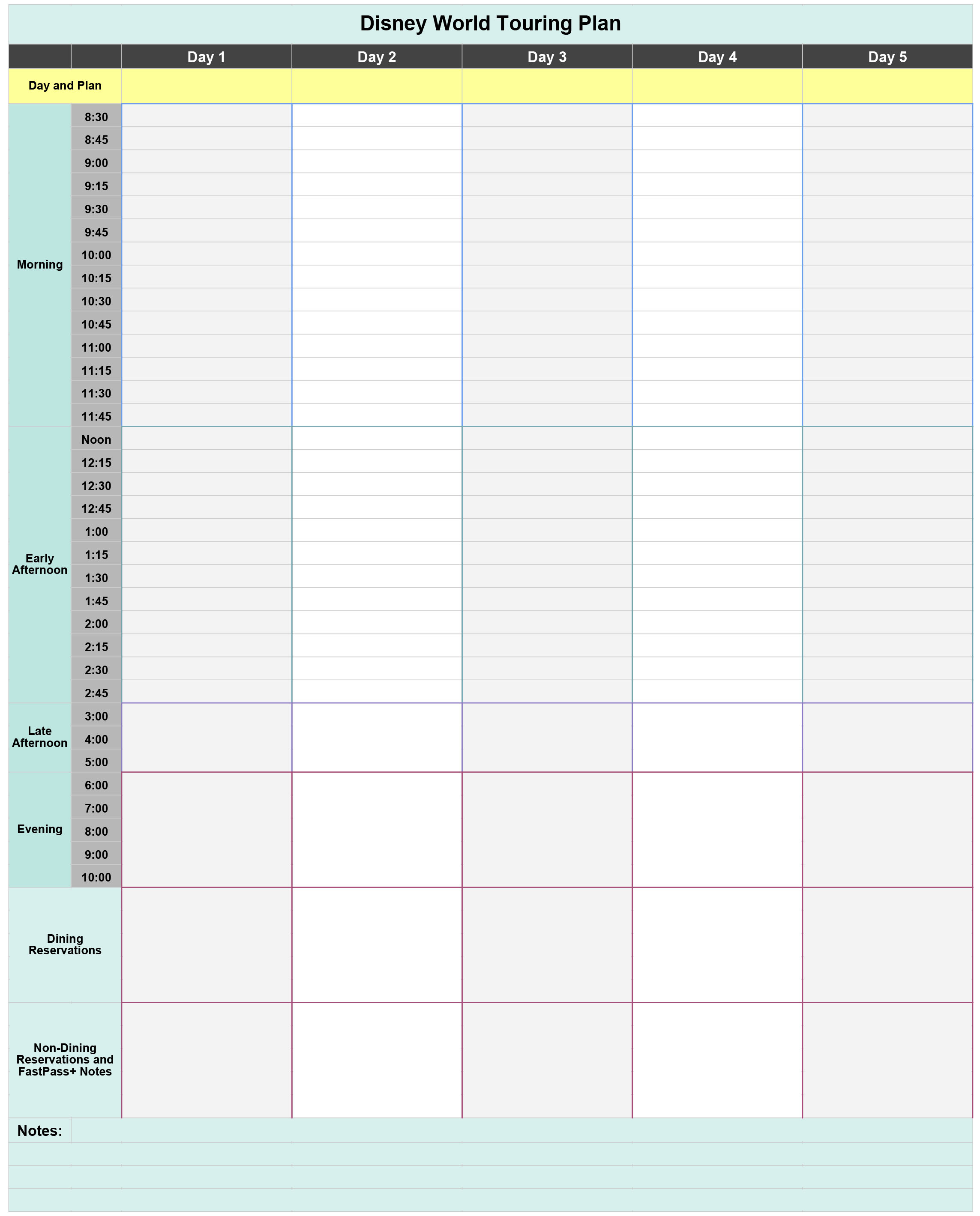 Free Disney World Touring Plan Spreadsheet  Wit & Wander for Disney World Itinerary Template