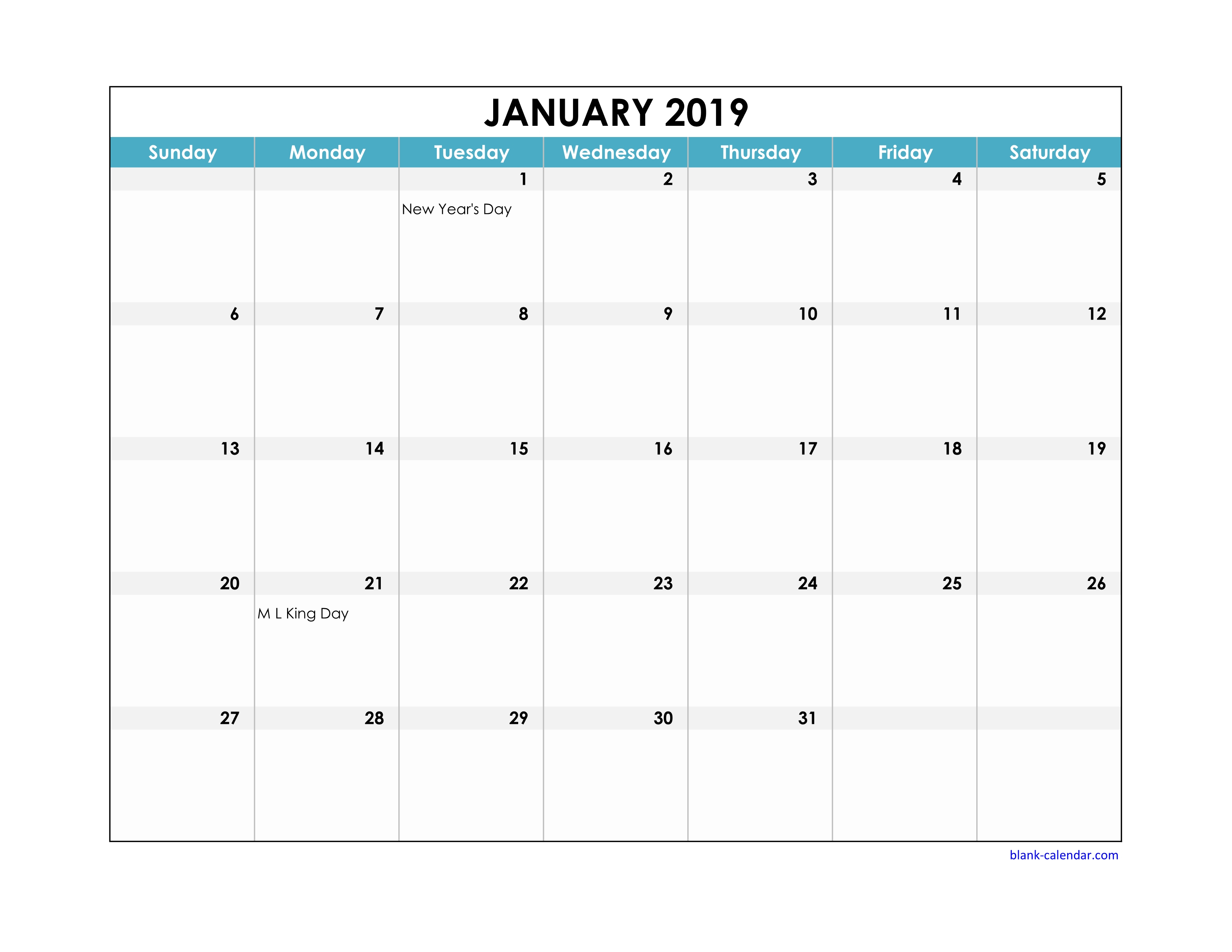Free Download 2019 Excel Calendar Large Boxes In The Grid with regard to Calendar With Blank Squares