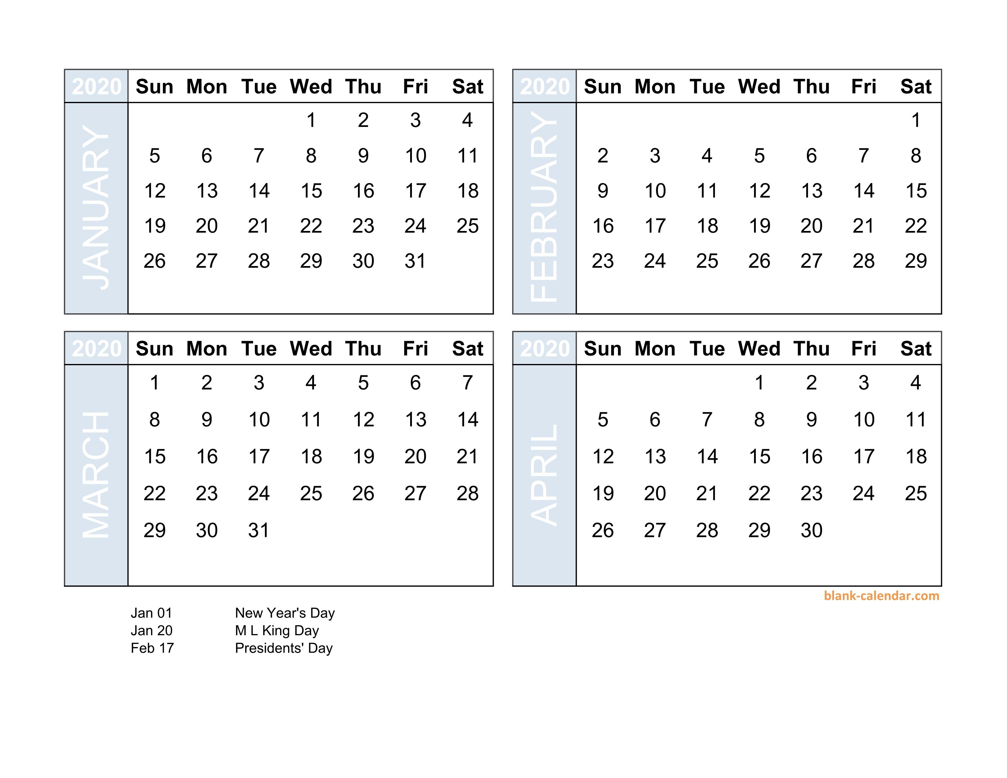 Free Download 2020 Excel Calendar Four Month In Landscape Format for 3 Month Calendar 2020 Excel