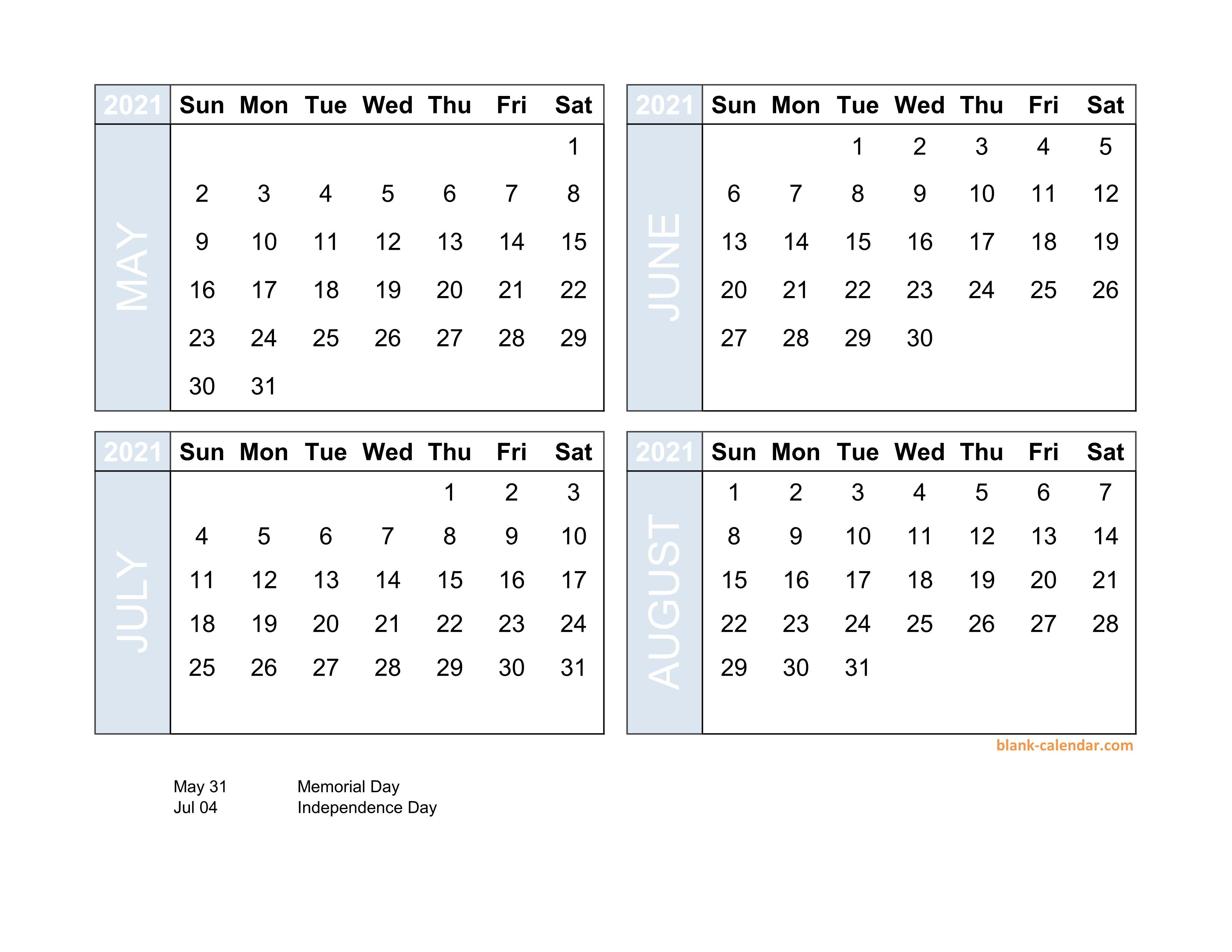 Free Download 2021 Excel Calendar Four Month In Landscape Format intended for 4 Month Calendar Excel