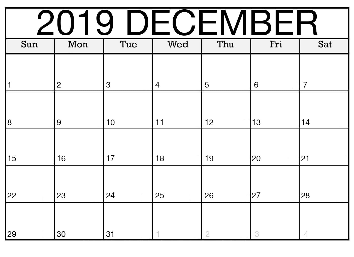 Free Download Blank Calendar December 2019 Printable Editable for Blank Fillable Calendar