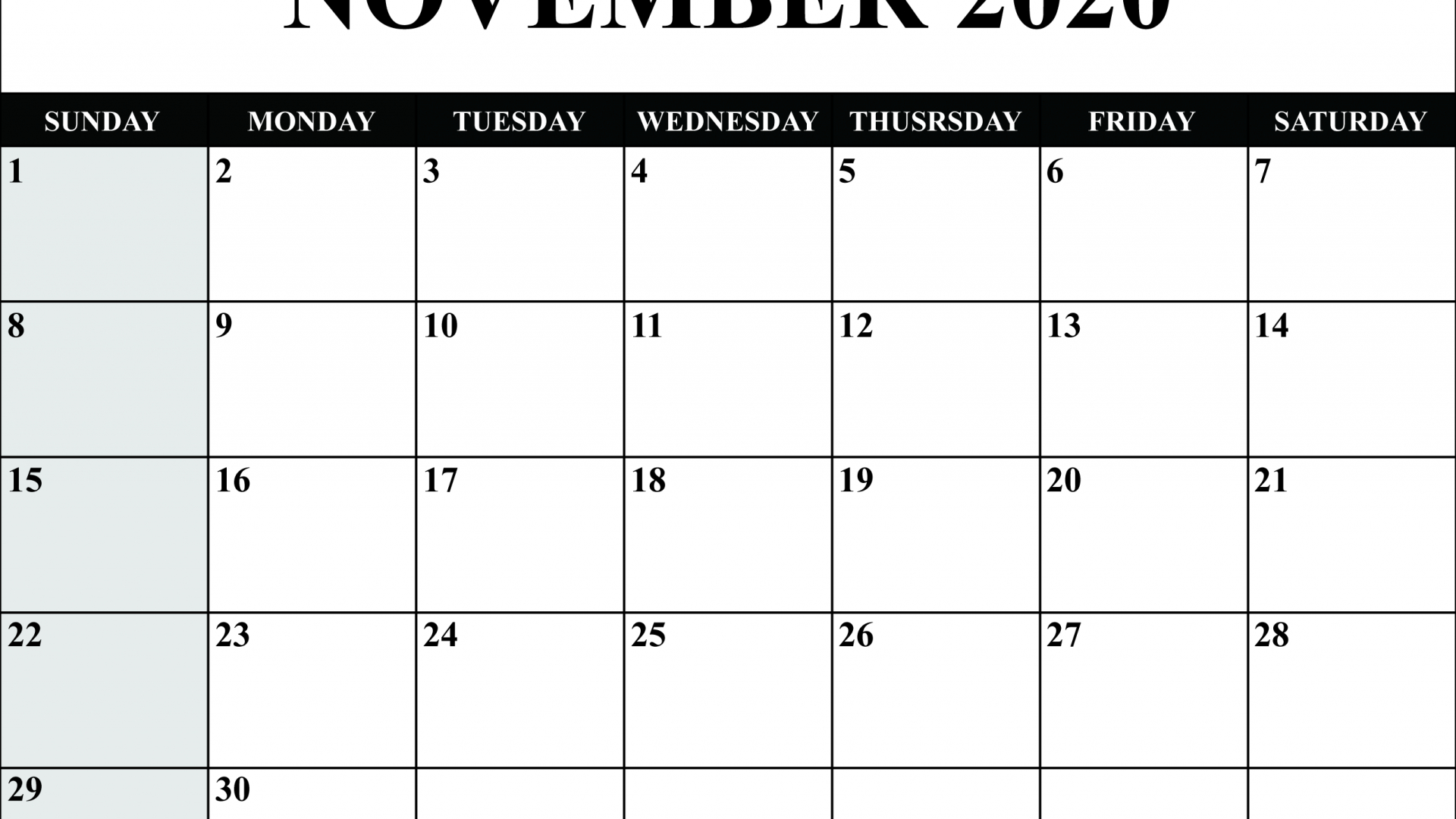 Free Download November 2020 Calendar Pdf Word Excel for November Calendar Excel 2020