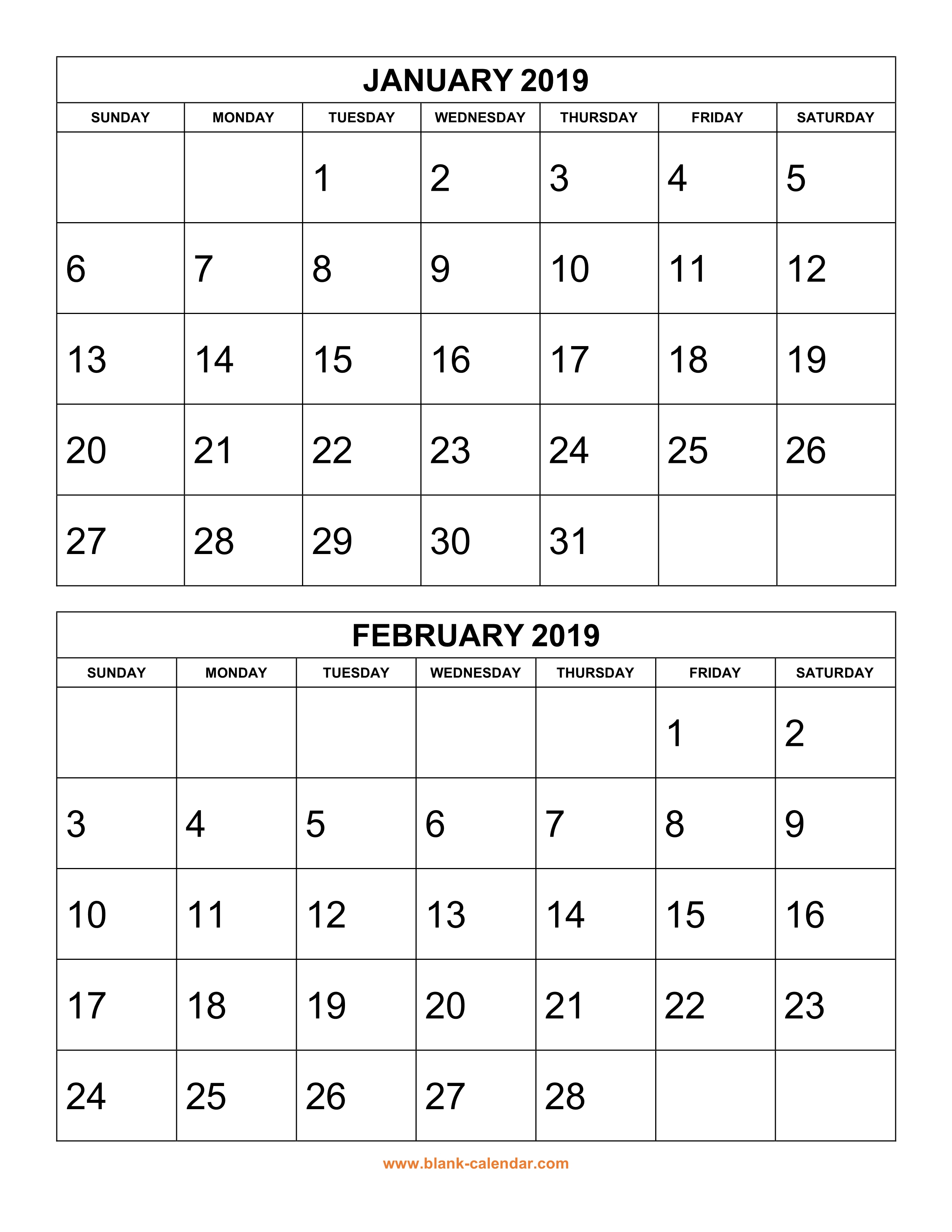 Free Download Printable Calendar 2019, 2 Months Per Page, 6 in Printable 6 Month Calendar