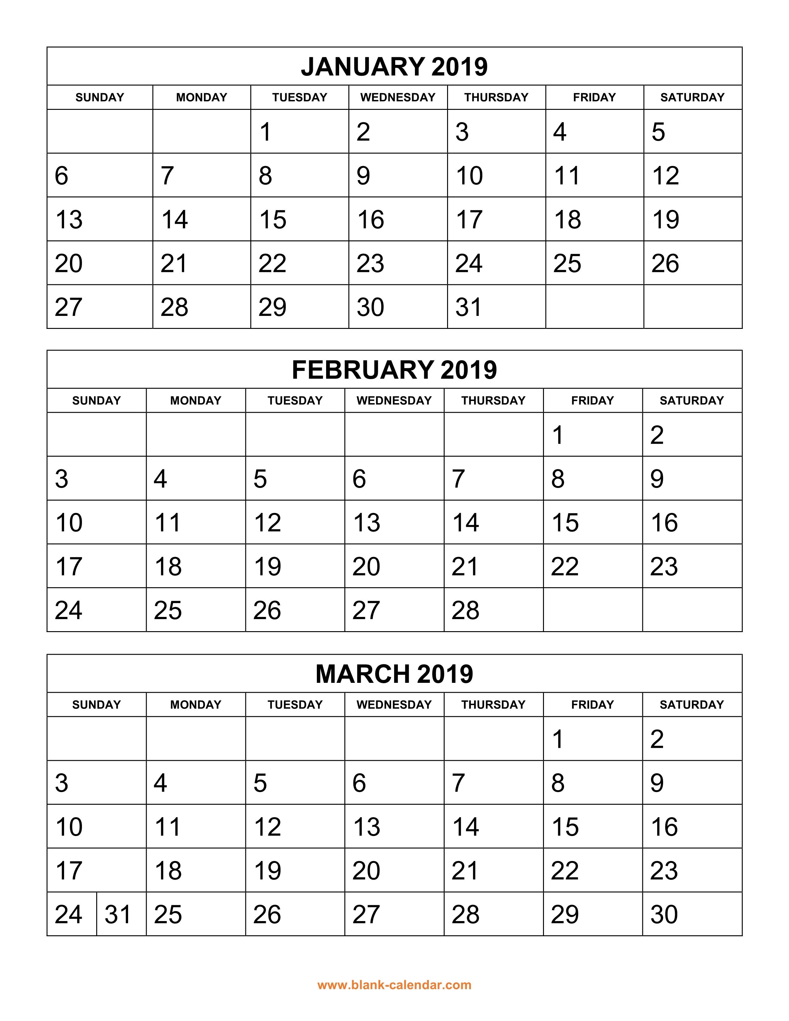 Free Download Printable Calendar 2019, 3 Months Per Page, 4 inside 3 Month Calendar Print