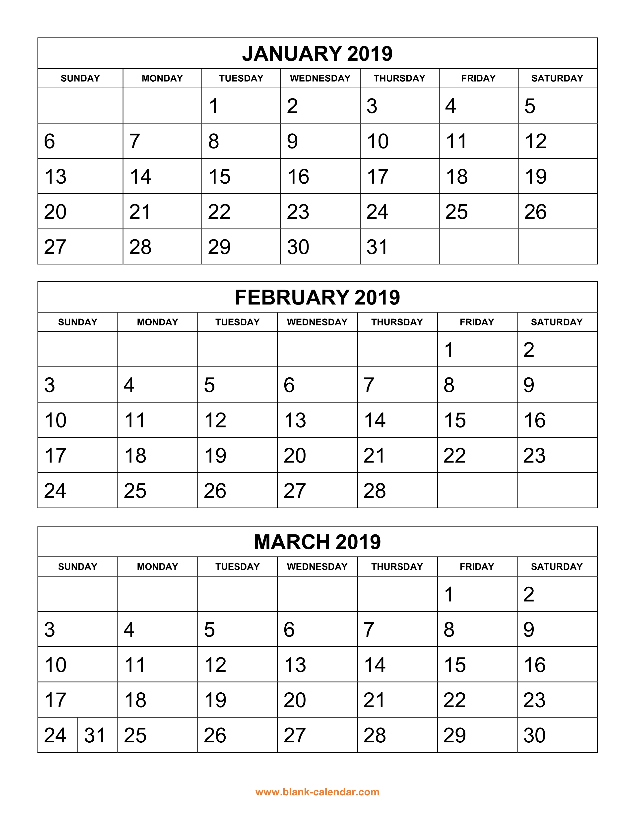 Free Download Printable Calendar 2019, 3 Months Per Page, 4 with regard to Printable Calendar 3 Months Per Page