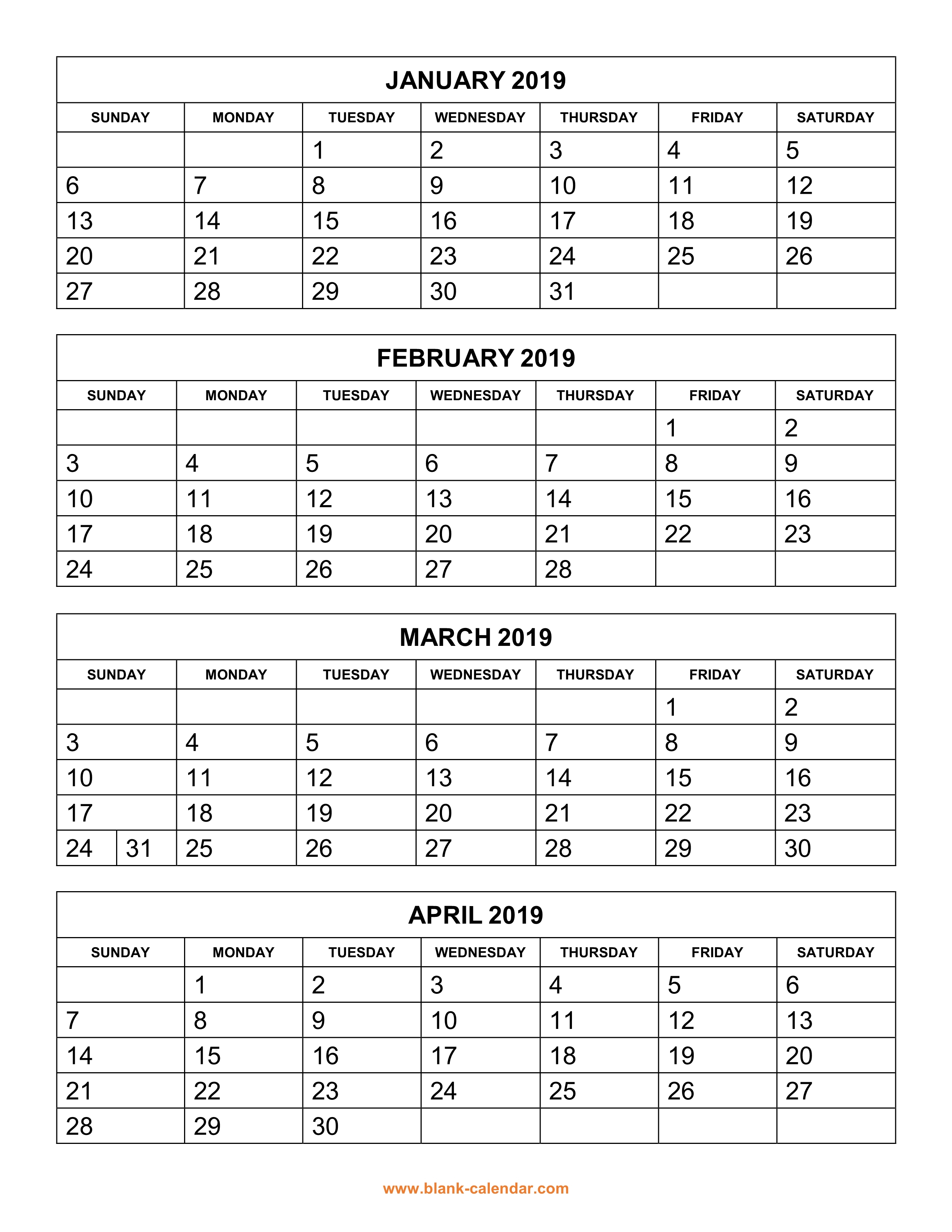 Free Download Printable Calendar 2019, 4 Months Per Page, 3 for 4 Month Calendar Excel