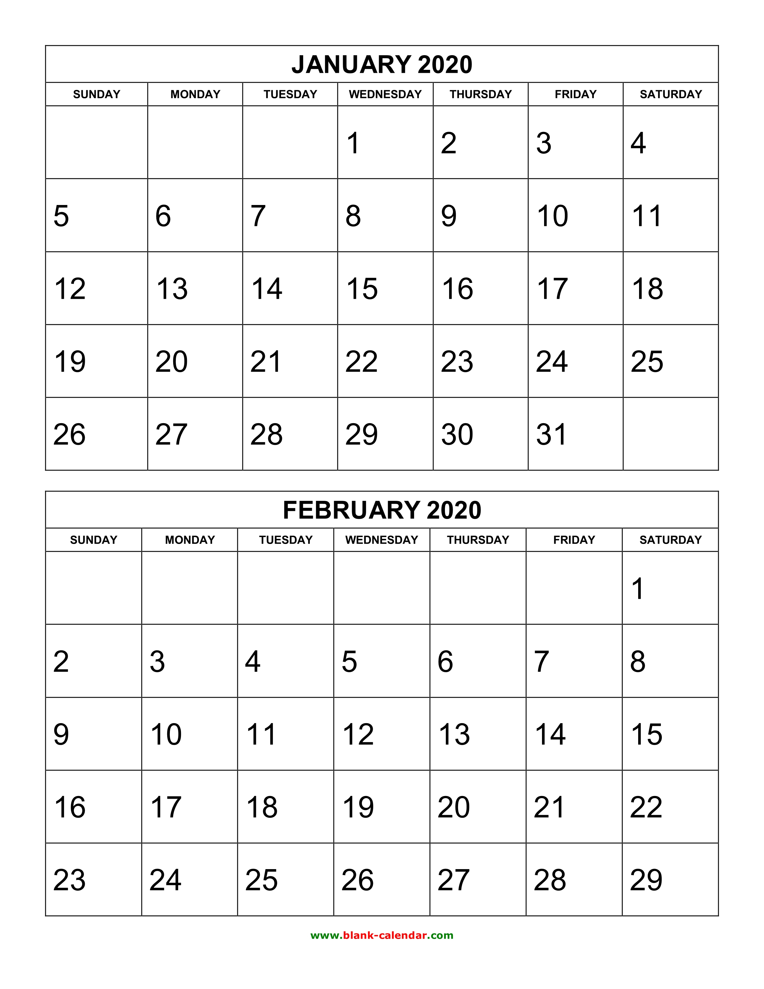 Free Download Printable Calendar 2020, 2 Months Per Page, 6 inside 2020 Blank Calendar Pages
