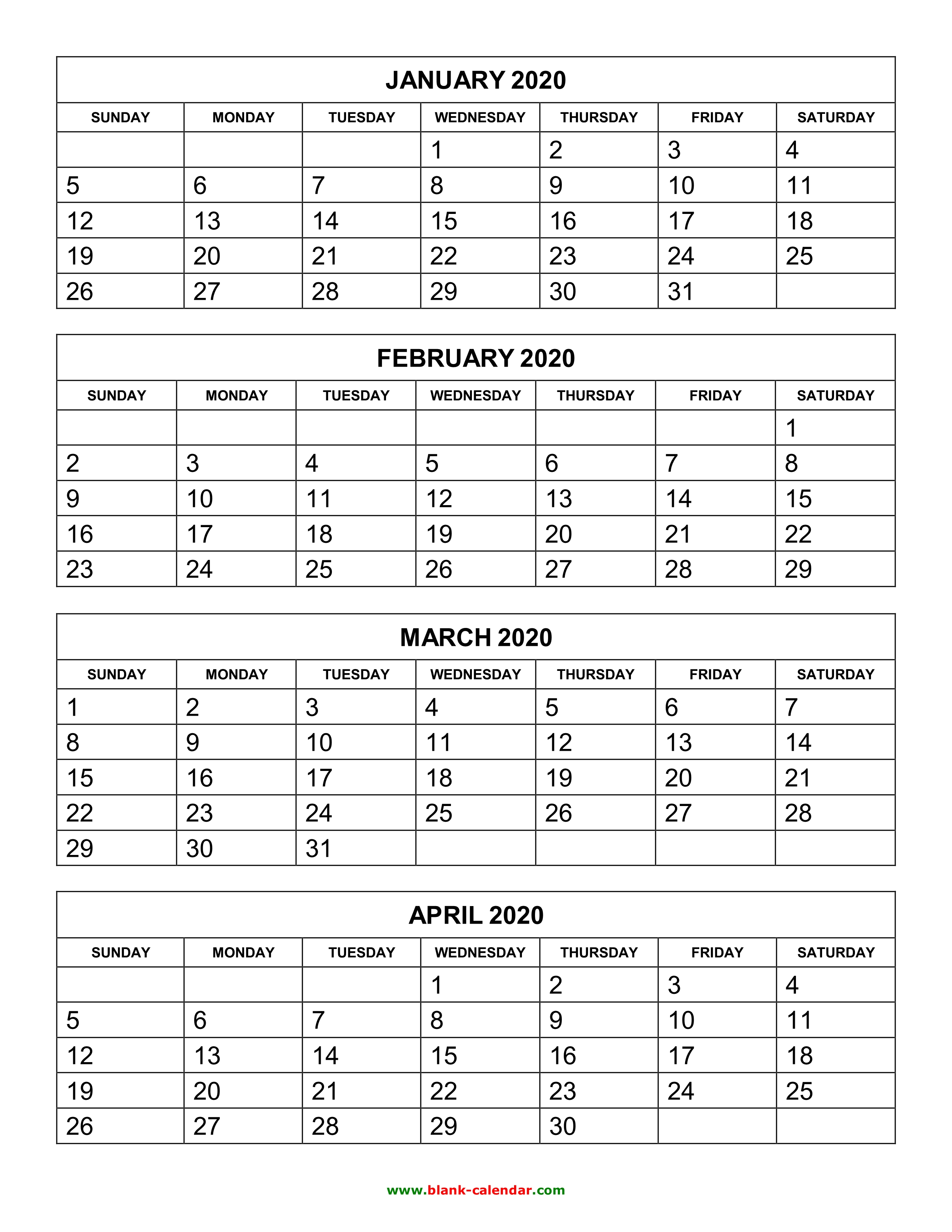 Free Download Printable Calendar 2020, 4 Months Per Page, 3 throughout 3 Month Calendar Print