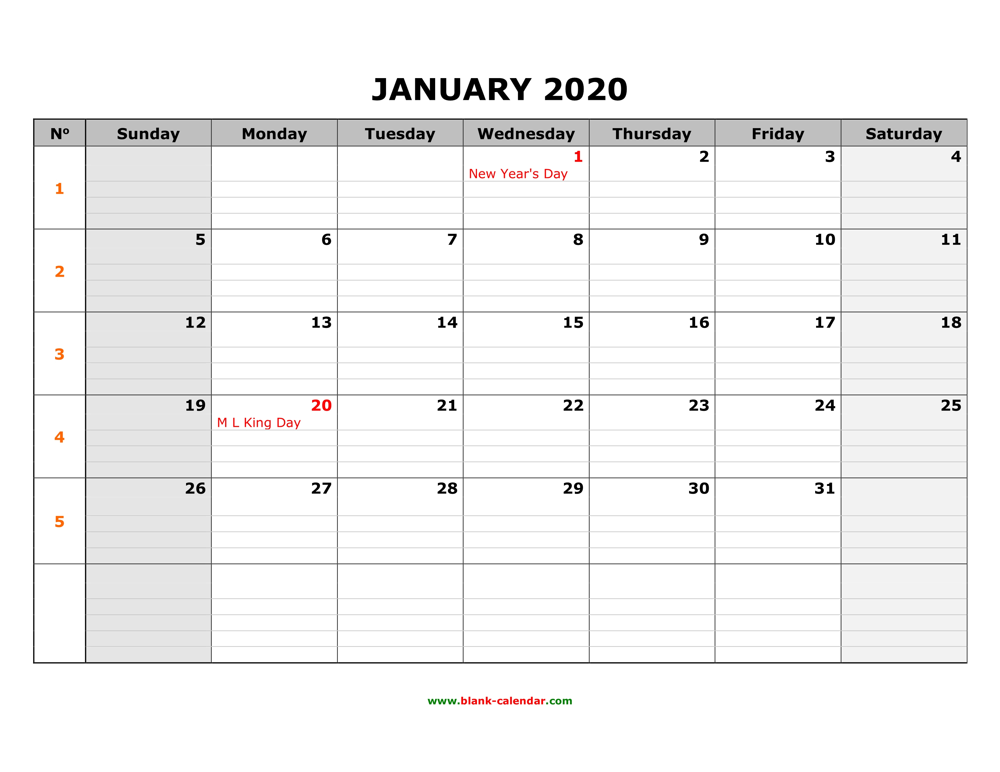 Free Download Printable Calendar 2020, Large Box Grid, Space with Calendar Template With Lines