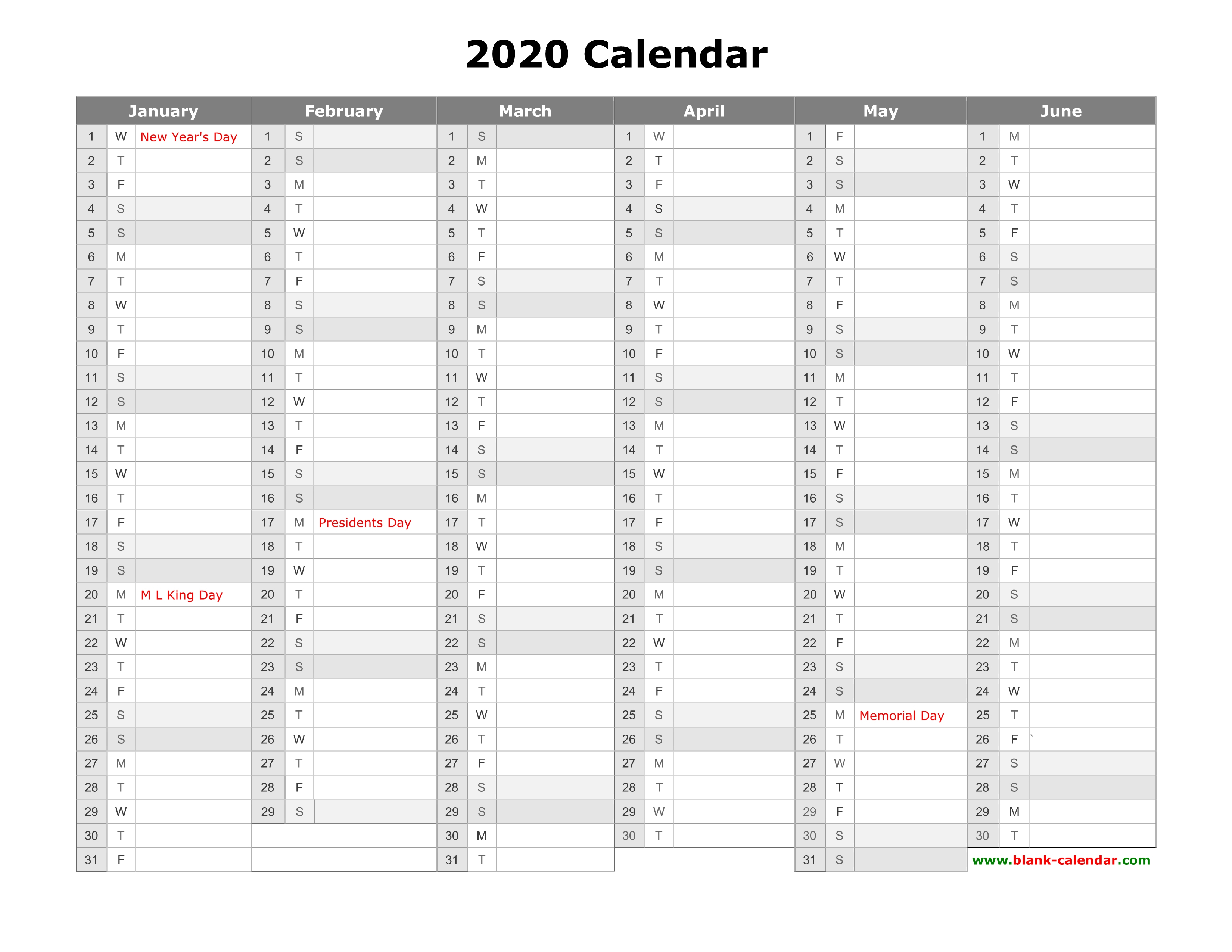 Free Download Printable Calendar 2020, Month In A Column pertaining to Printable Calendar 2020 3 Months Per Page