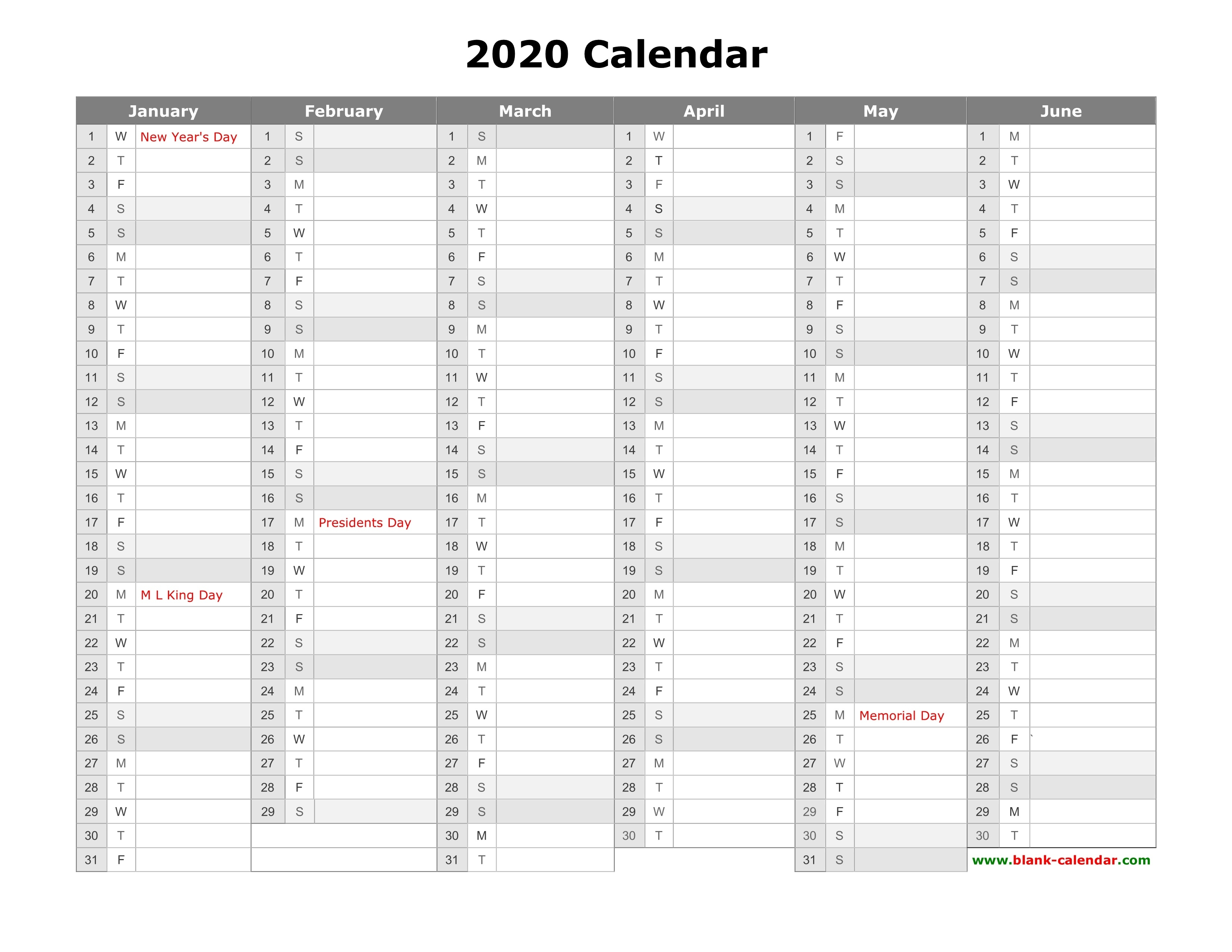 Free Download Printable Calendar 2020, Month In A Column regarding 3 Month Printable Calendar 2020