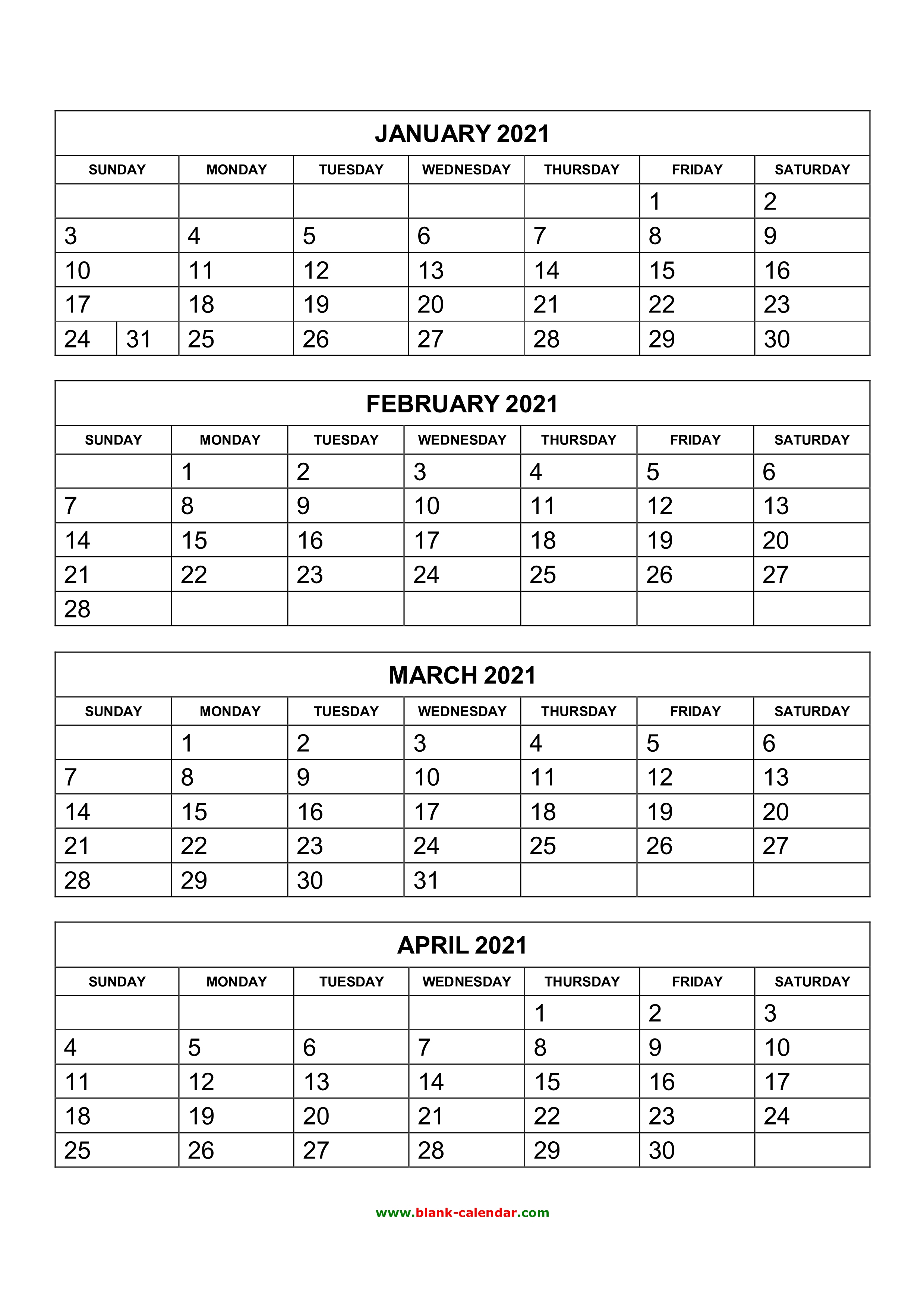 Free Download Printable Calendar 2021, 4 Months Per Page, 3 intended for Printable Calendar 4 Months Per Page