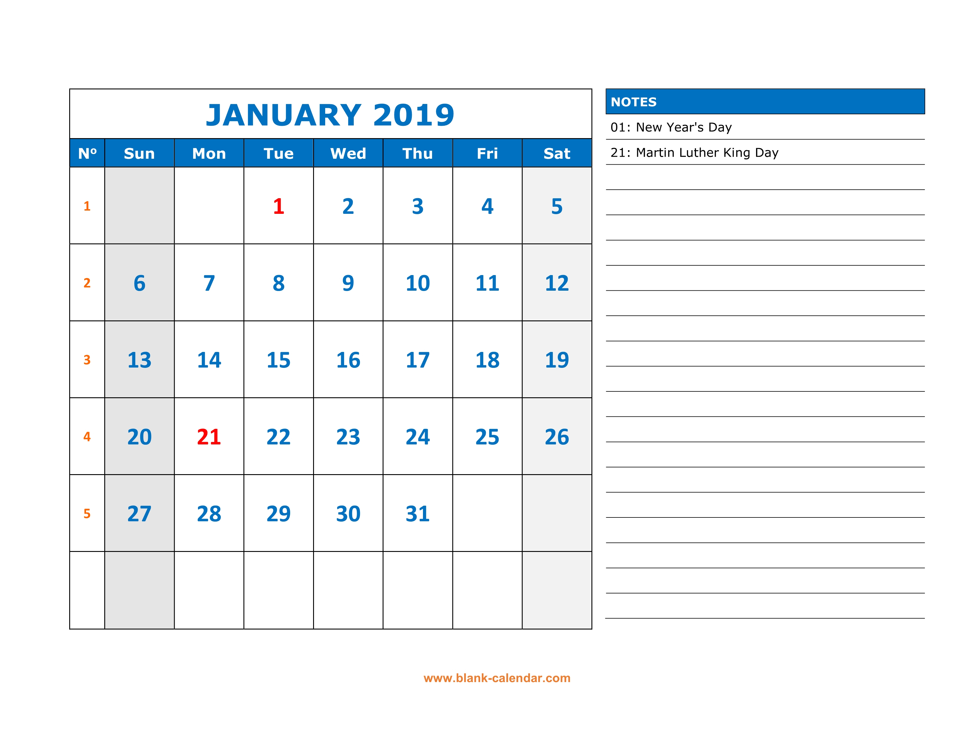 Free Download Printable January 2019 Calendar, Large Space pertaining to Free Printable Appointment Calendar
