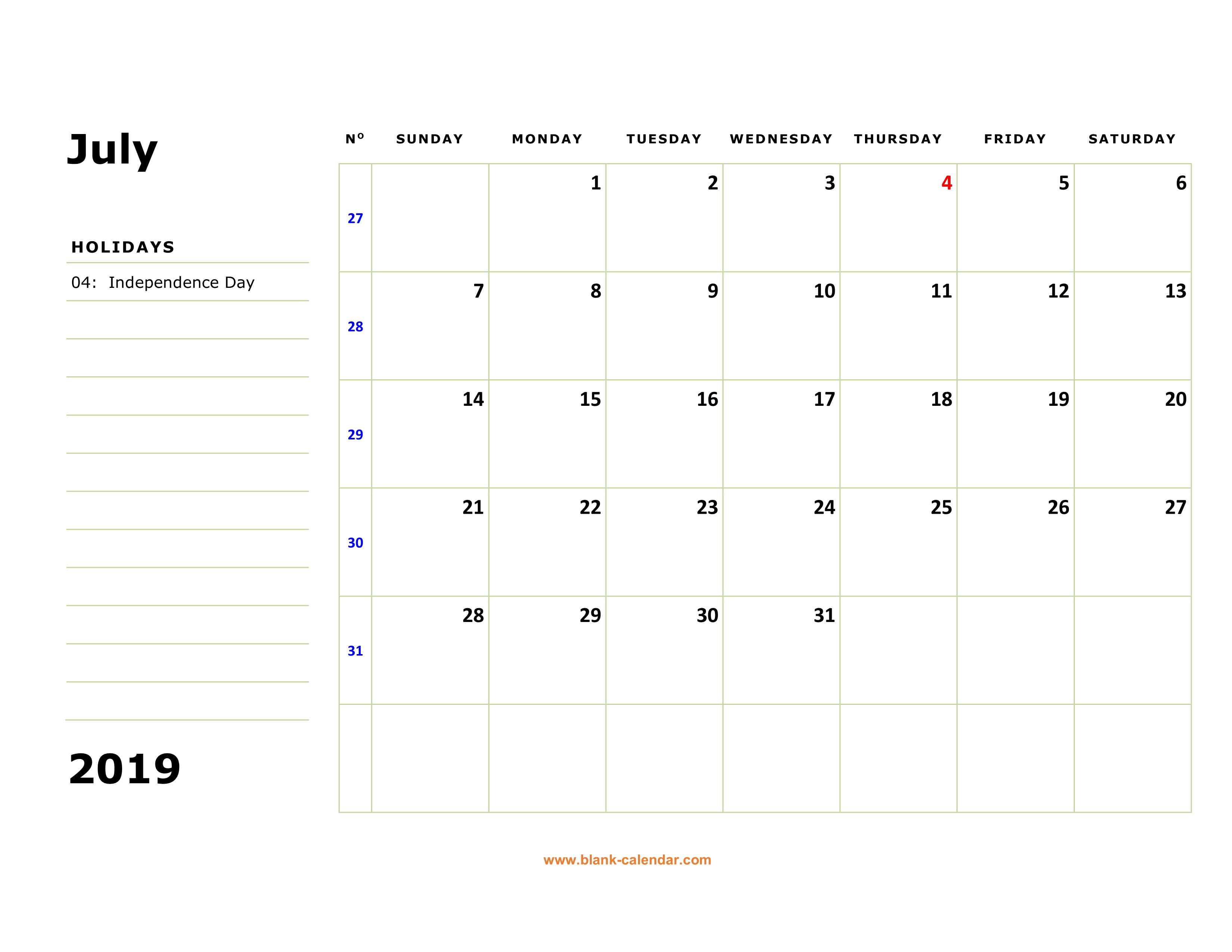 Free Download Printable July 2019 Calendar, Large Box for Calendar With Large Squares
