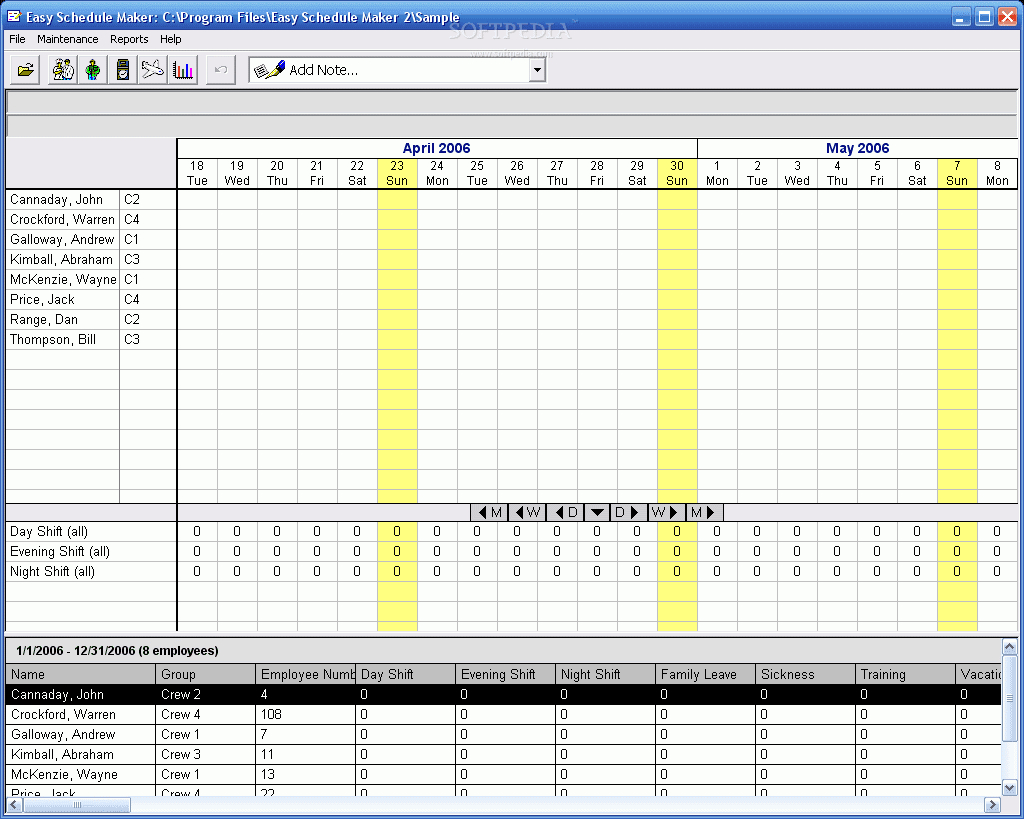 Free Download Software: Freeware Employee Scheduling within Employee Schedule Creator