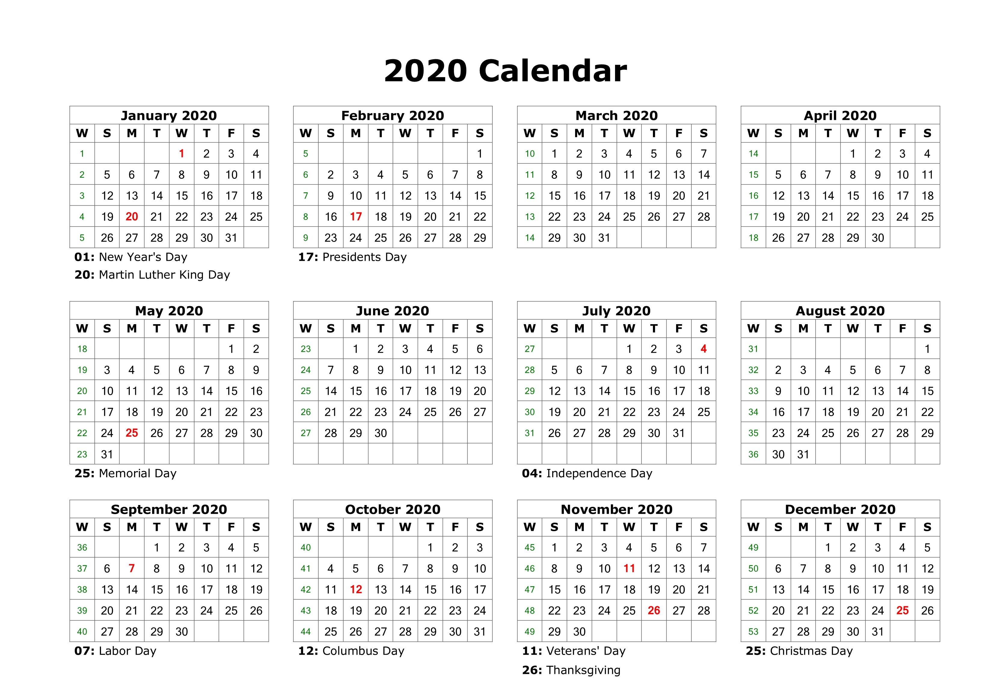 Free Editable 2020 Calendar Printable Template for Free Printable 2020 Employee Attendance Calendar