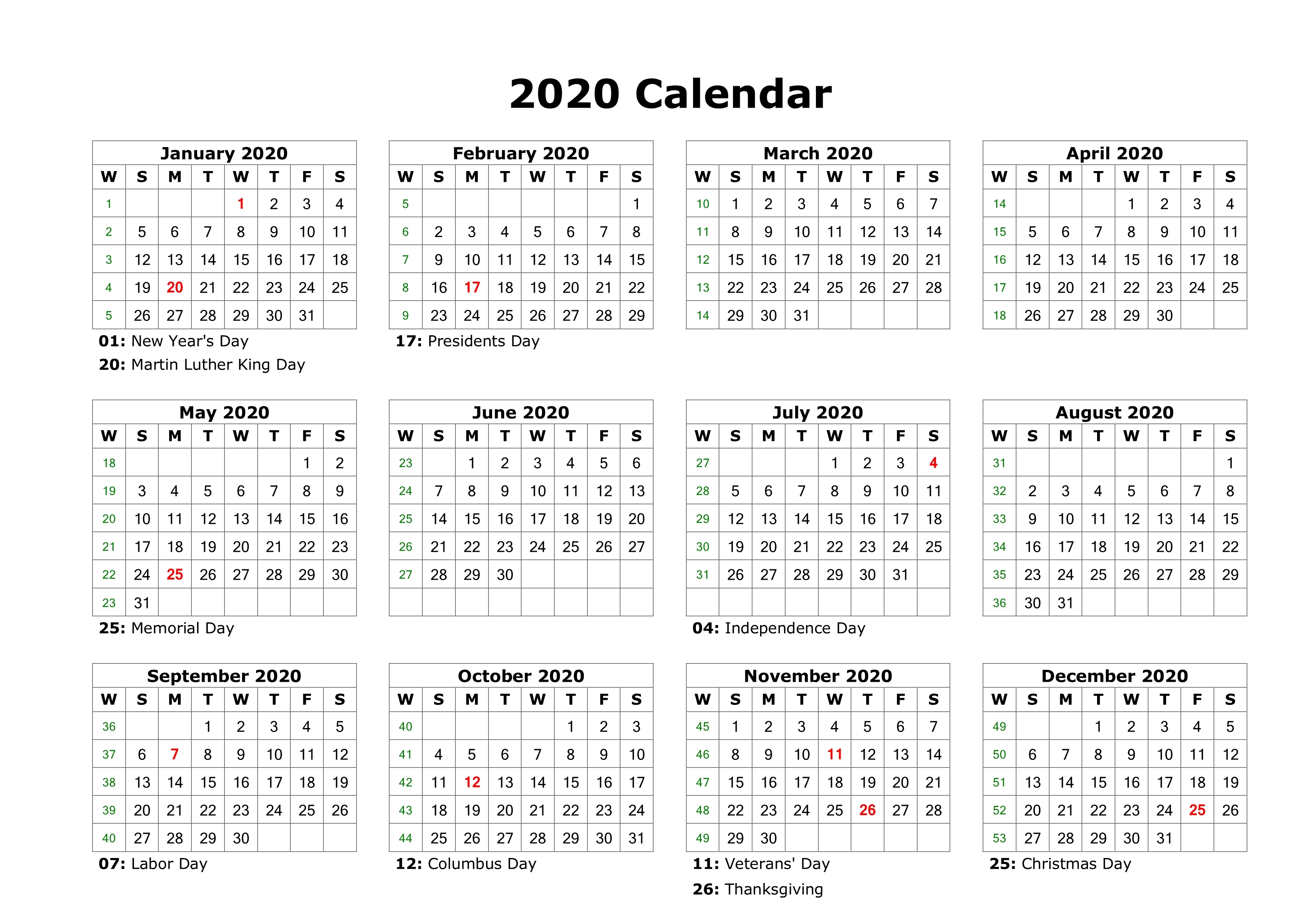 Free Editable 2020 Calendar Printable Template intended for 2020 Employee Attendance Calendar Free