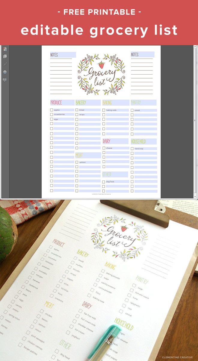 Free Editable Grocery List {Printable Pdf} | Grocery List pertaining to Editable Grocery List