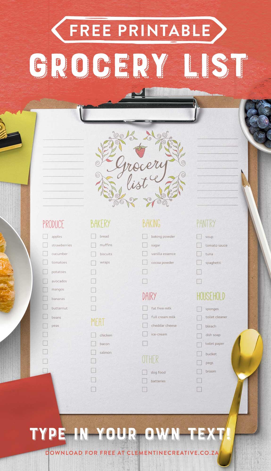 Free Editable Grocery List {Printable Pdf} throughout Editable Grocery List Template