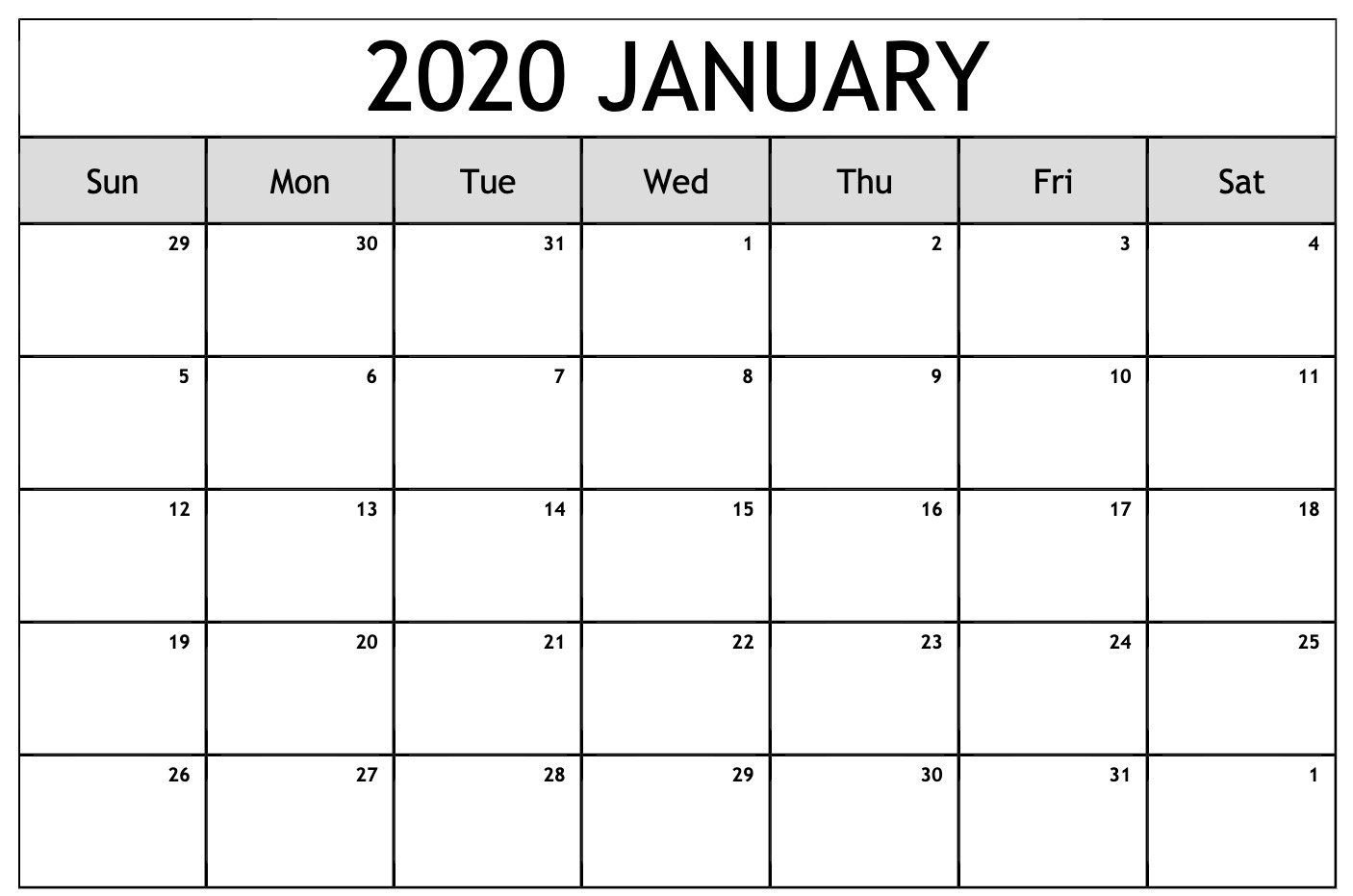 Free Editable January Calendar 2020 Blank Template in Writable December 2020 Calendar