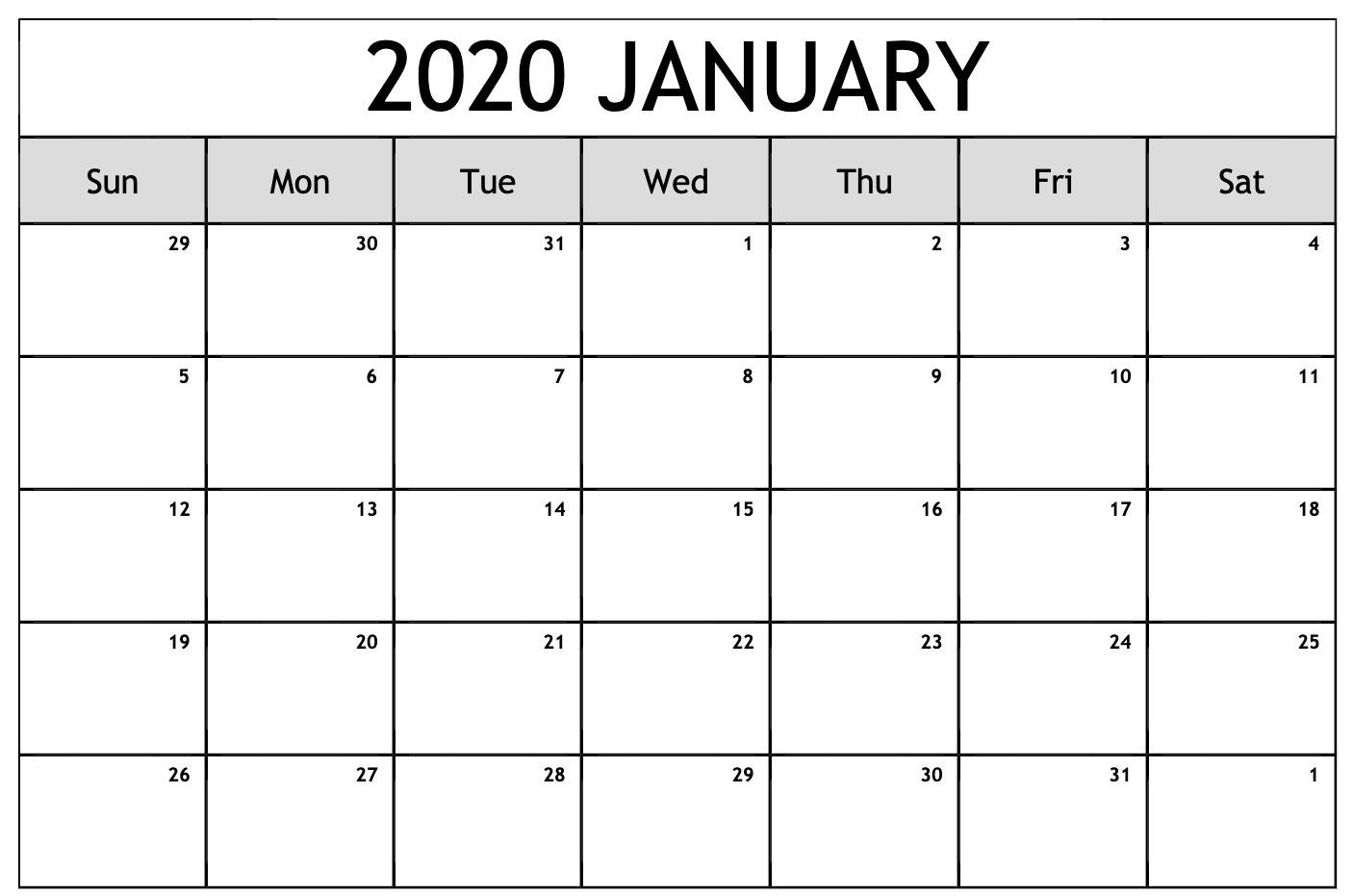 Free Editable January Calendar 2020 Blank Template within Blank January Calendar 2020