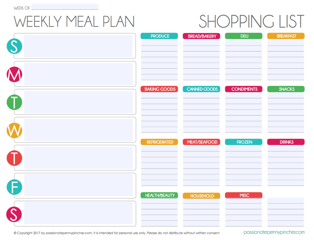 Free Editable Menu Plan And Grocery List! | Meal Plan for Editable Grocery List Template
