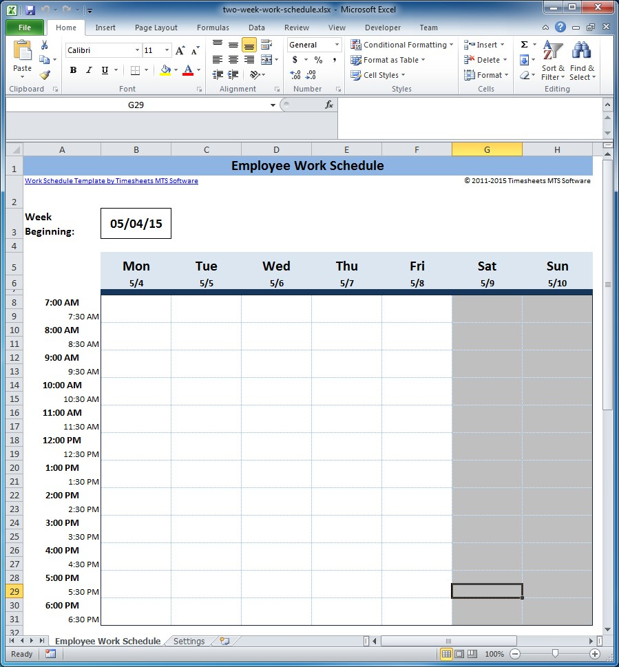 Free Employee And Shift Schedule Templates regarding Two Week Calendar Template Excel