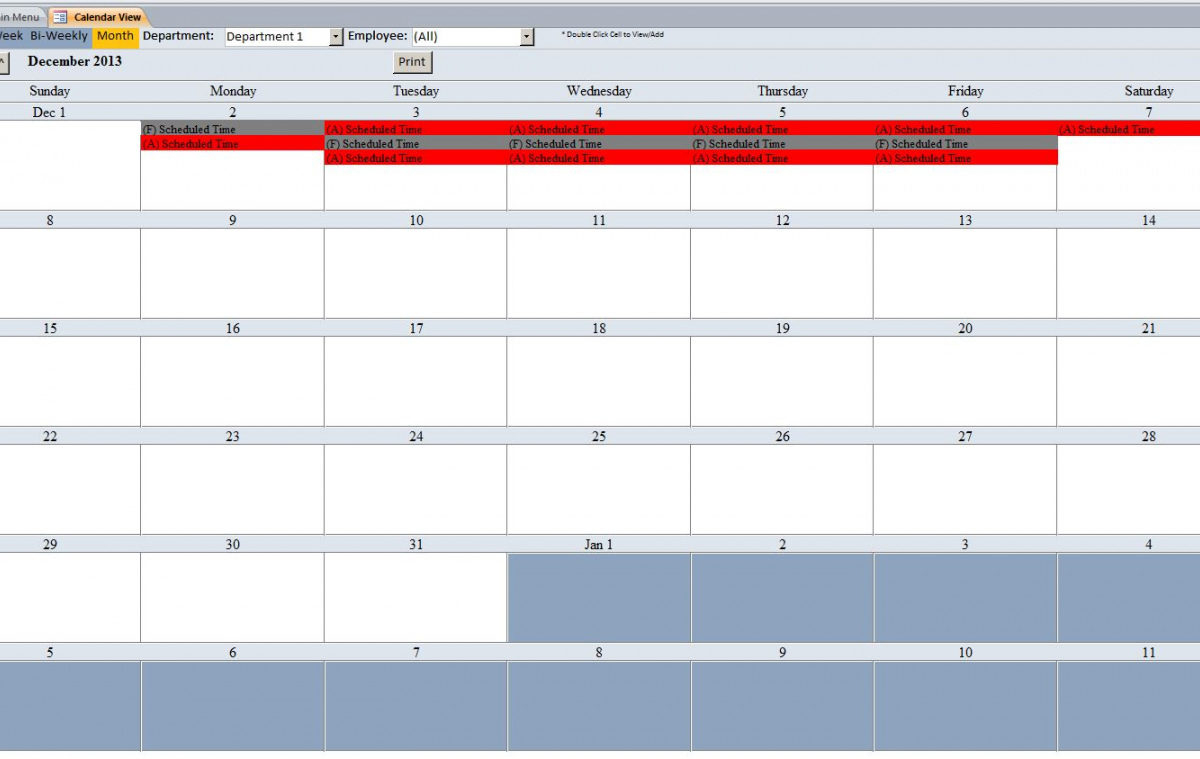 Free Employee Vacation Tracking Database Template Pto throughout Employee Vacation Calendar Template