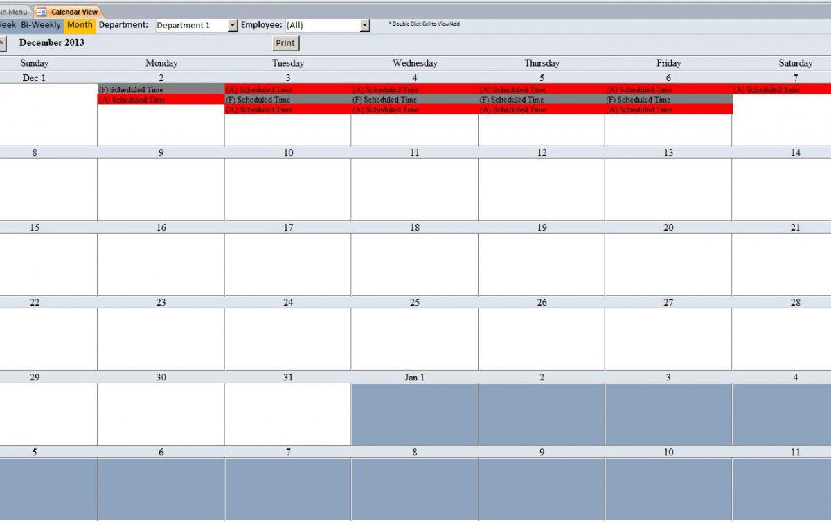 Free Employee Vacation Tracking Database Template Pto with Employee Vacation Tracking Calendar