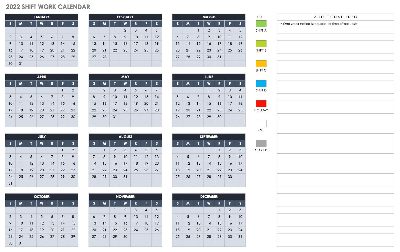 Free Excel Calendar Templates for Quarterly Calendar 2020 Excel