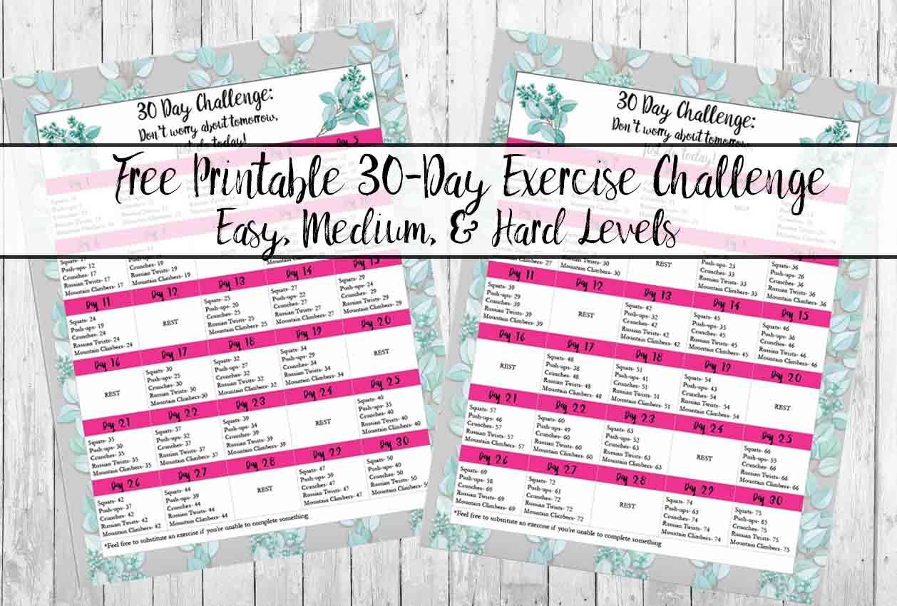 Free Exercise Printable 30Day Challenge: Easy, Medium regarding Blank 30 Day Challenge Calendar