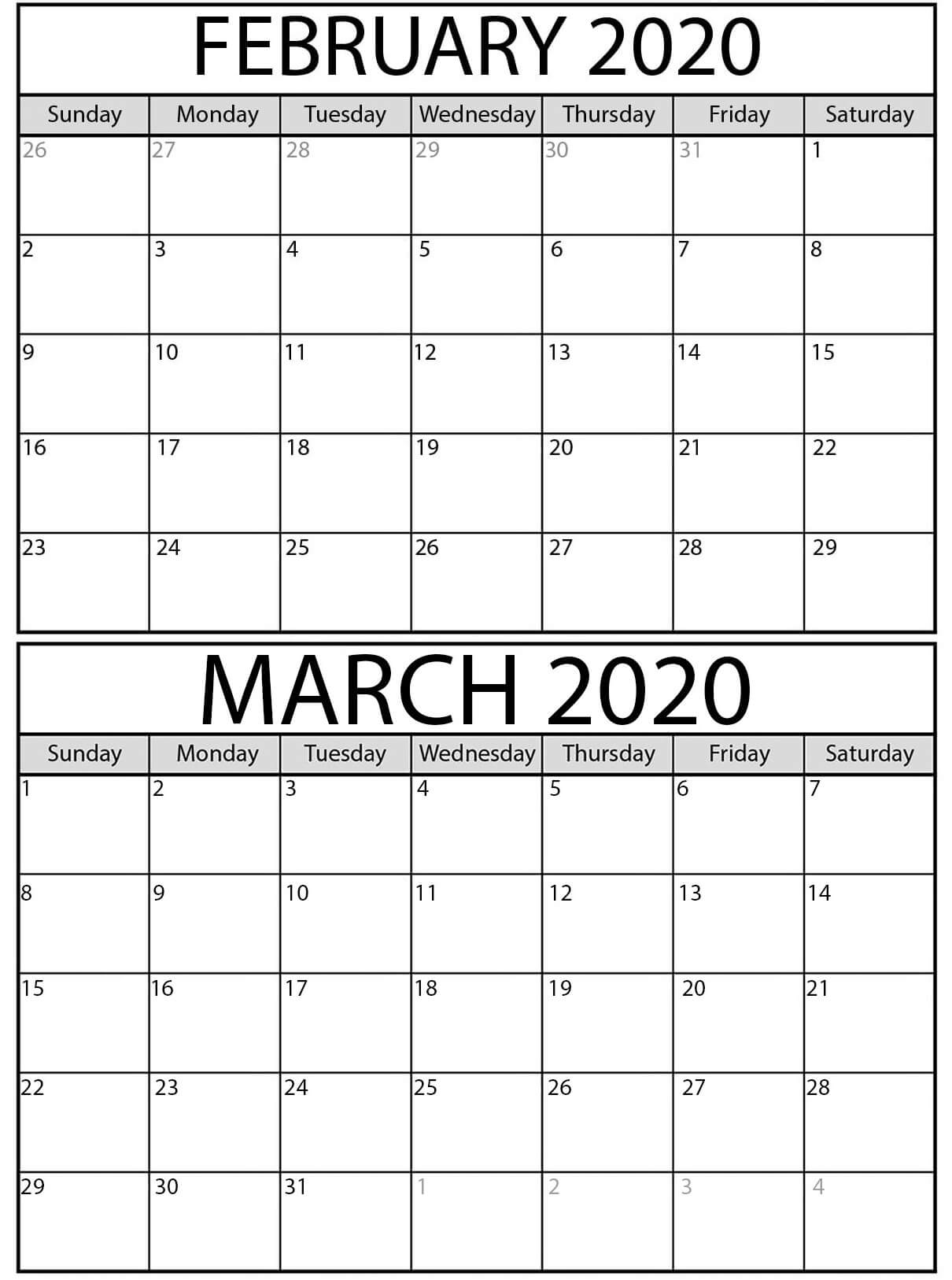 Free February March Calendar 2020 With Holidays  Set Your intended for Feb And March 2020